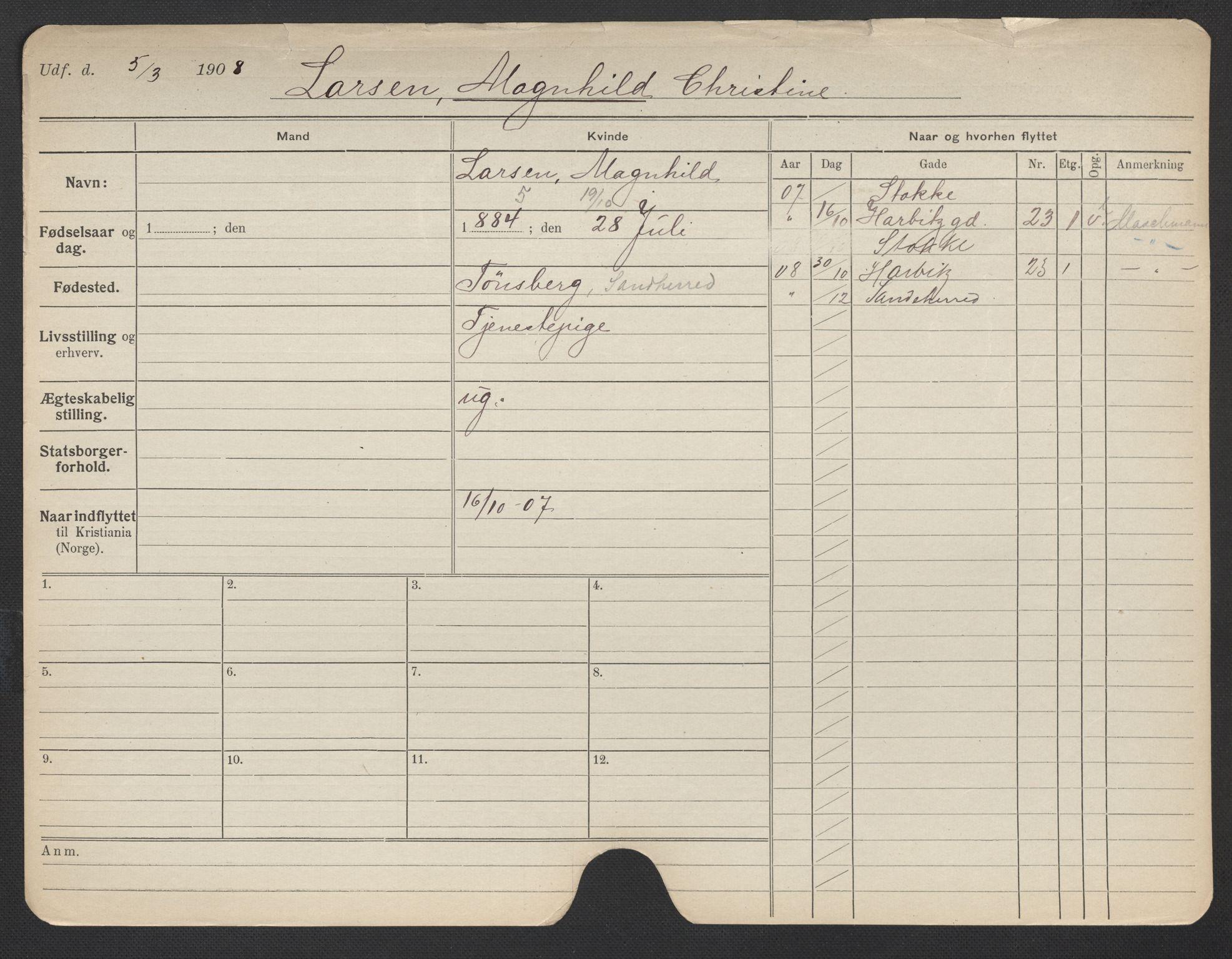 SAO, Oslo folkeregister, Registerkort, F/Fa/Fac/L0019: Kvinner, 1906-1914, s. 1051a