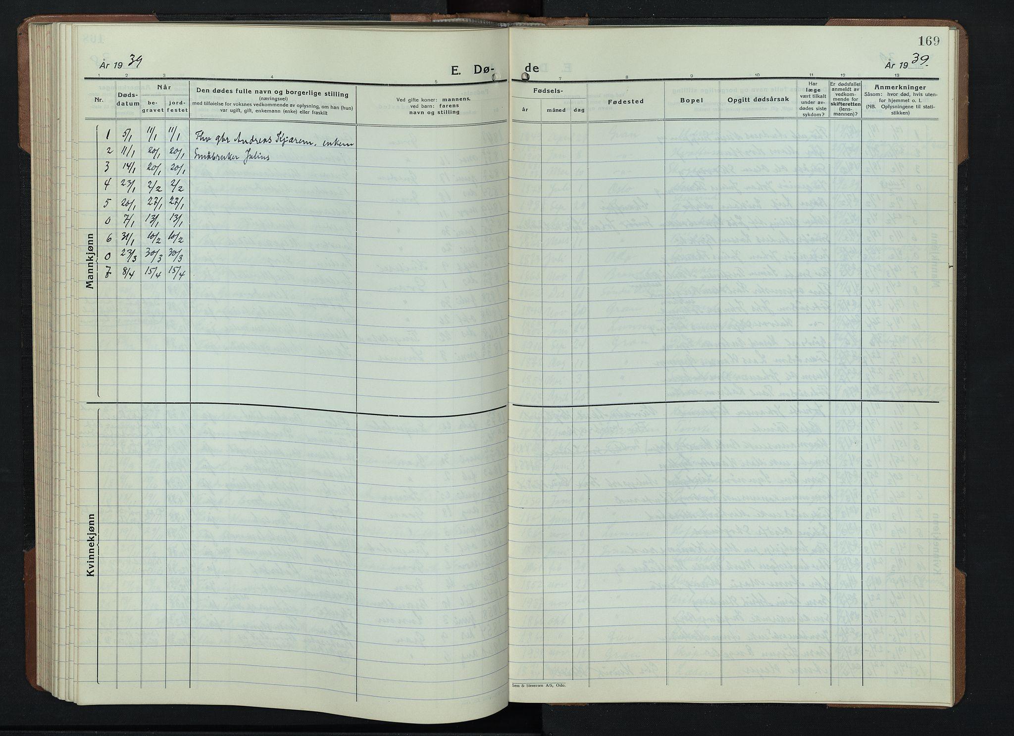 SAH, Gran prestekontor, Klokkerbok nr. 9, 1933-1950, s. 169