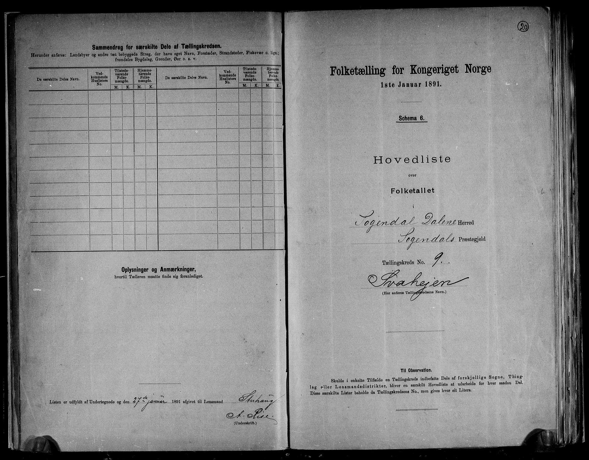 RA, Folketelling 1891 for 1111 Sokndal herred, 1891, s. 20