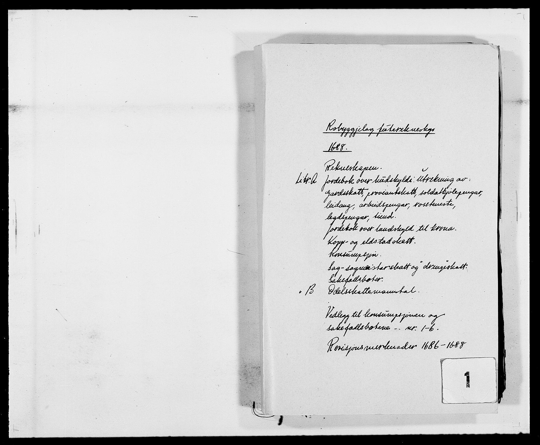 RA, Rentekammeret inntil 1814, Reviderte regnskaper, Fogderegnskap, R40/L2441: Fogderegnskap Råbyggelag, 1688, s. 1