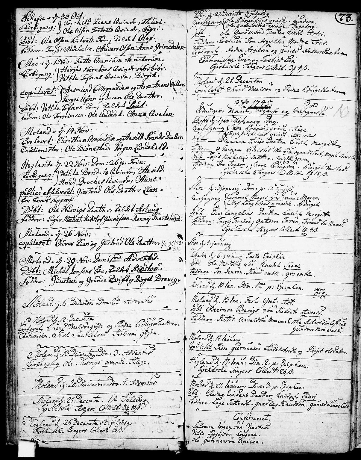 SAKO, Fyresdal kirkebøker, F/Fa/L0001: Ministerialbok nr. I 1, 1724-1748, s. 73