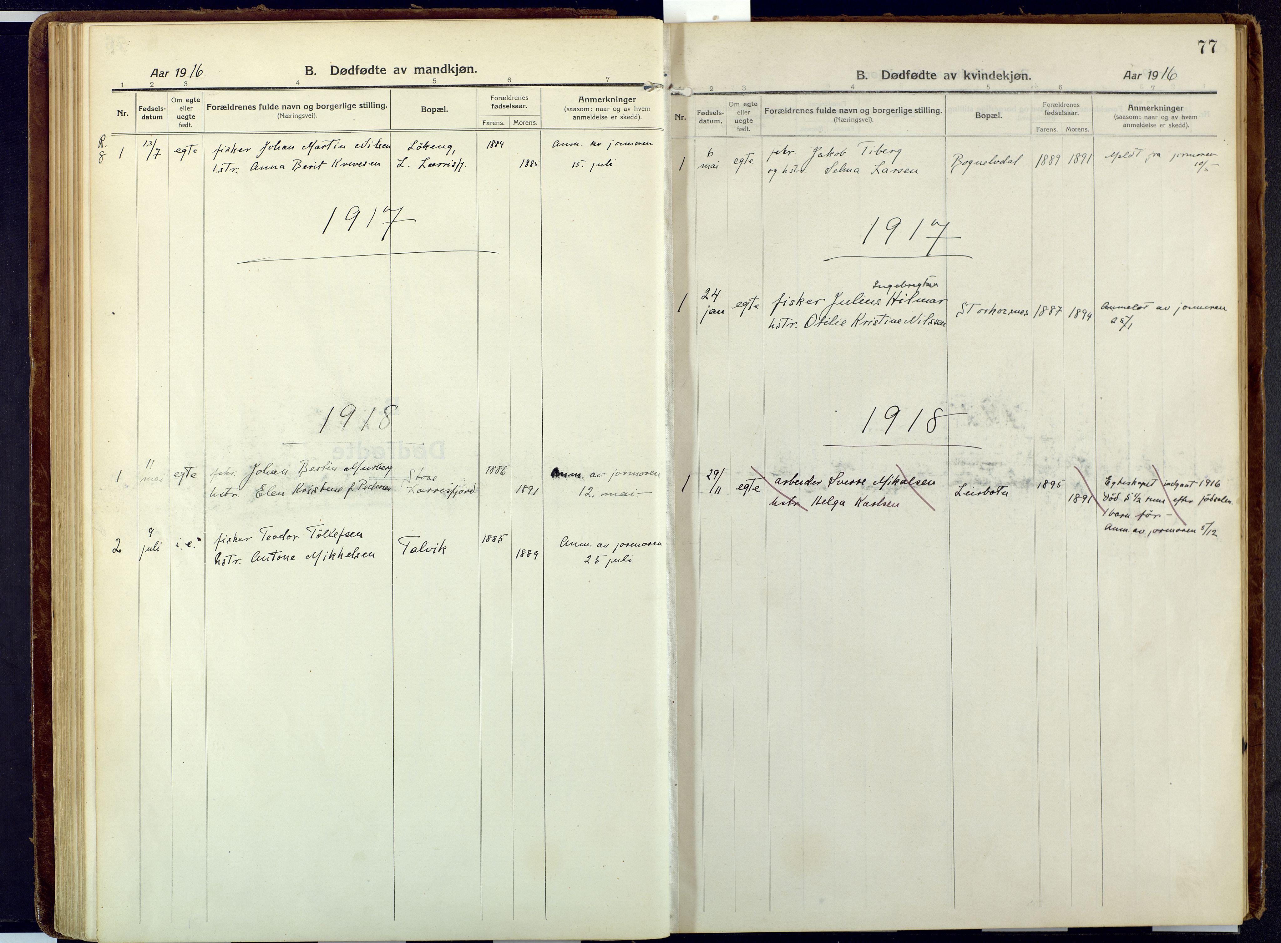 SATØ, Talvik sokneprestkontor, H/Ha/L0018kirke: Ministerialbok nr. 18, 1915-1924, s. 77