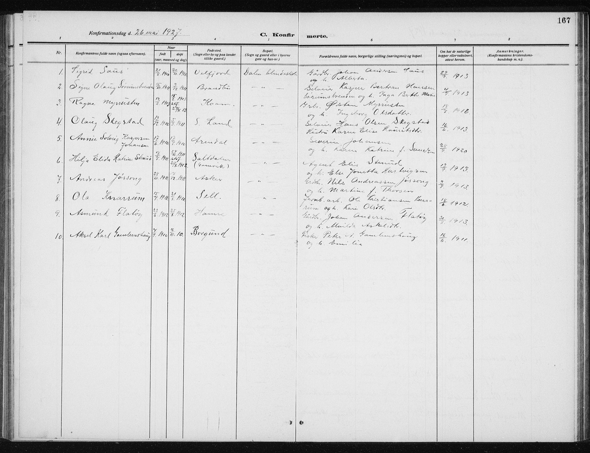 SAT, Ministerialprotokoller, klokkerbøker og fødselsregistre - Sør-Trøndelag, 606/L0314: Klokkerbok nr. 606C10, 1911-1937, s. 167