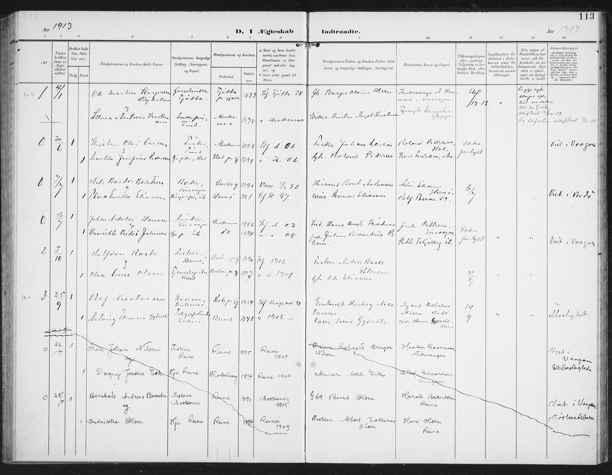SAT, Ministerialprotokoller, klokkerbøker og fødselsregistre - Nordland, 886/L1221: Ministerialbok nr. 886A03, 1903-1913, s. 113