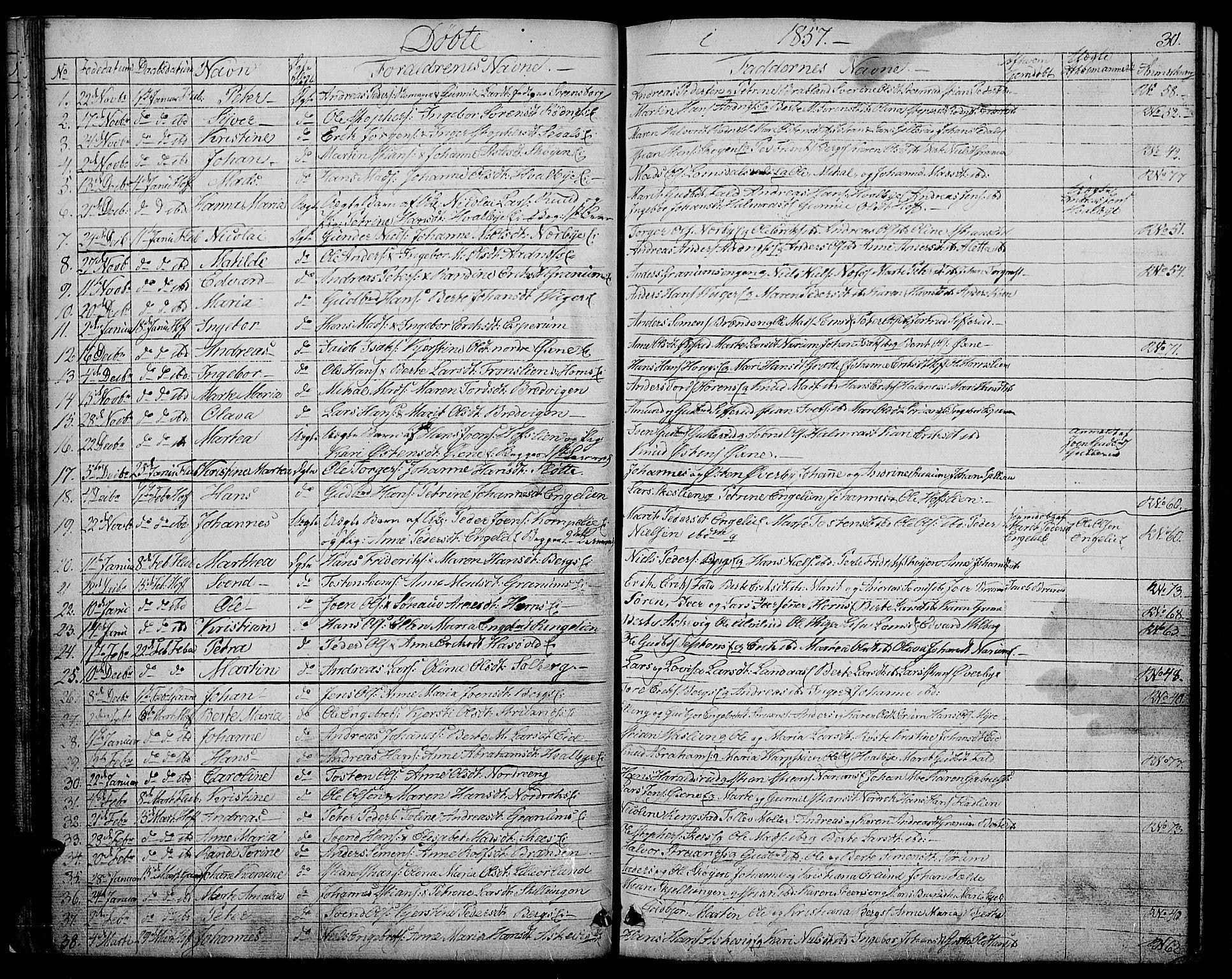 SAH, Søndre Land prestekontor, L/L0001: Klokkerbok nr. 1, 1849-1883, s. 30