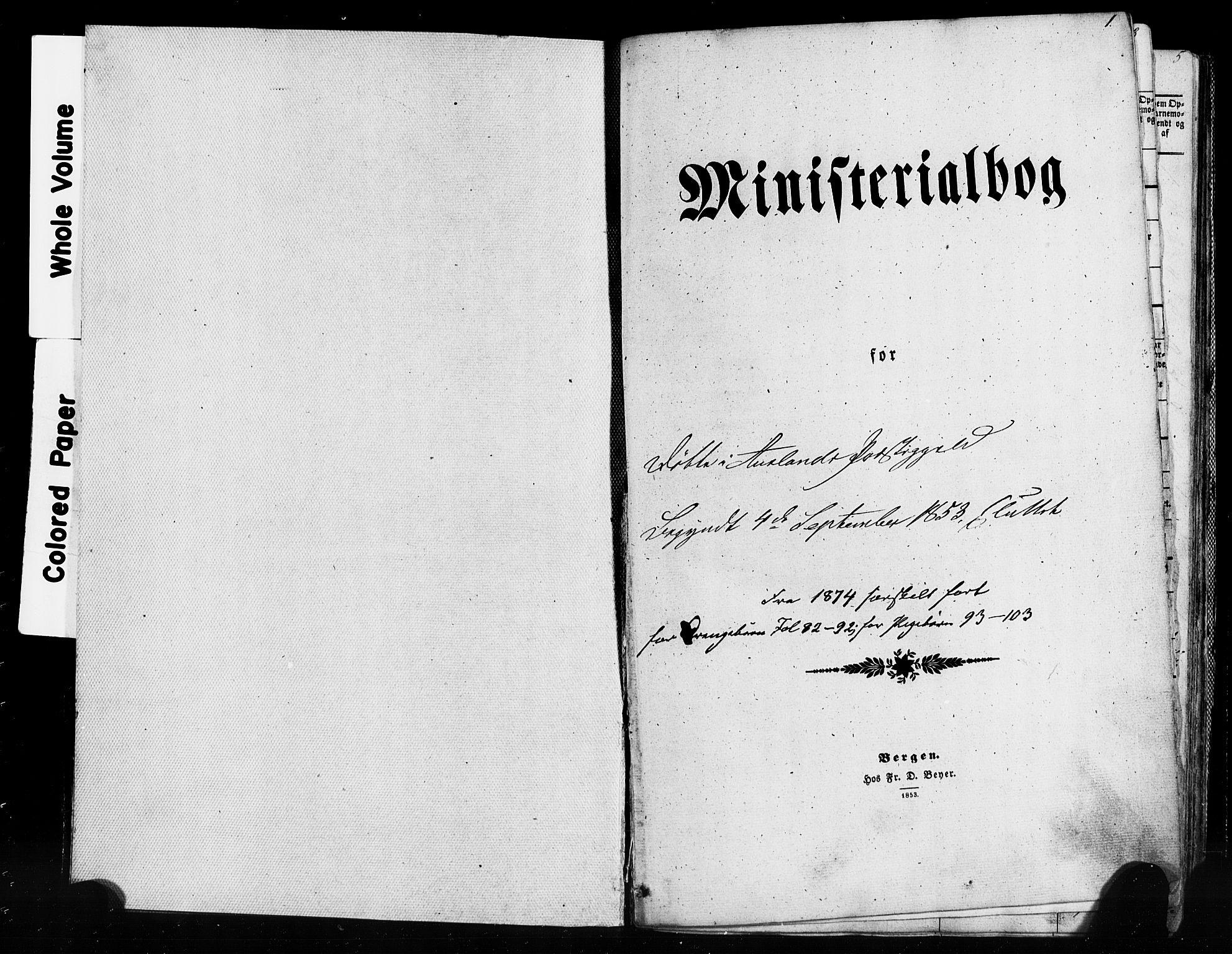 SAB, Aurland Sokneprestembete*, Ministerialbok nr. A 8, 1853-1879, s. 1