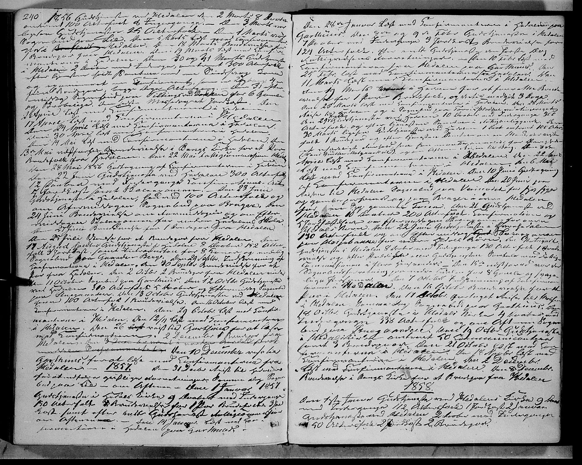 SAH, Sør-Aurdal prestekontor, Ministerialbok nr. 7, 1849-1876, s. 240