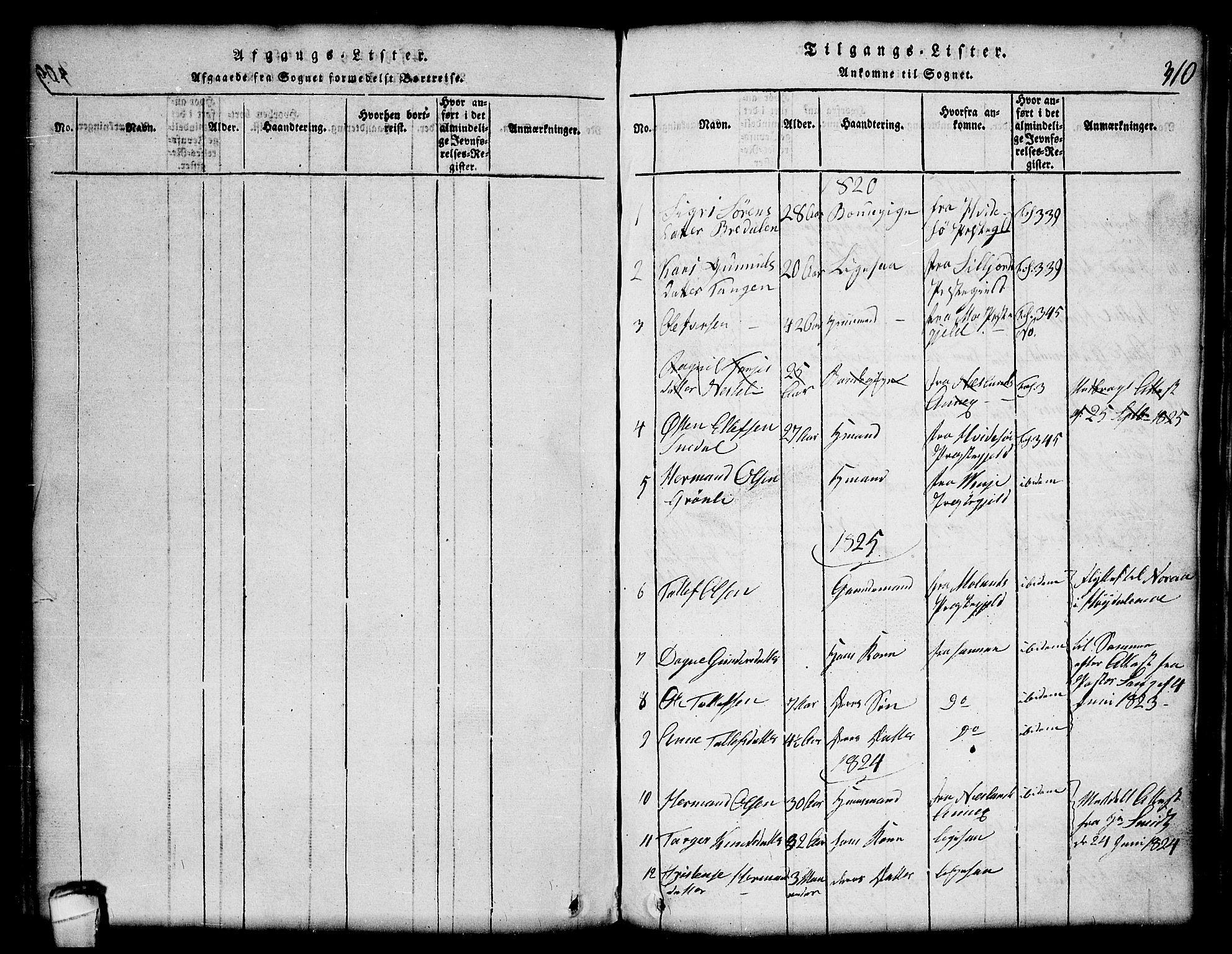 SAKO, Lårdal kirkebøker, G/Gc/L0001: Klokkerbok nr. III 1, 1815-1854, s. 310