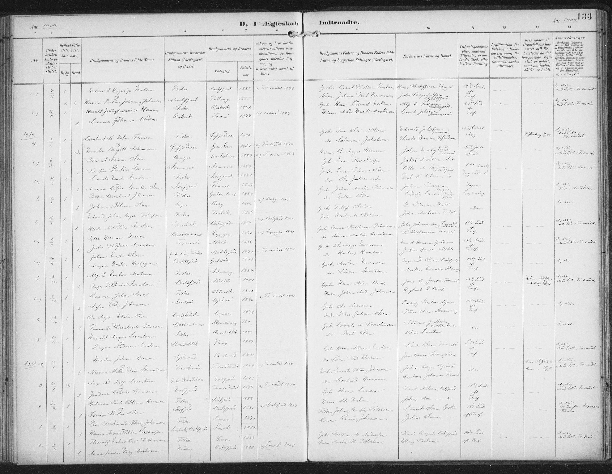SATØ, Lenvik sokneprestembete, H/Ha/Haa/L0015kirke: Ministerialbok nr. 15, 1896-1915, s. 133