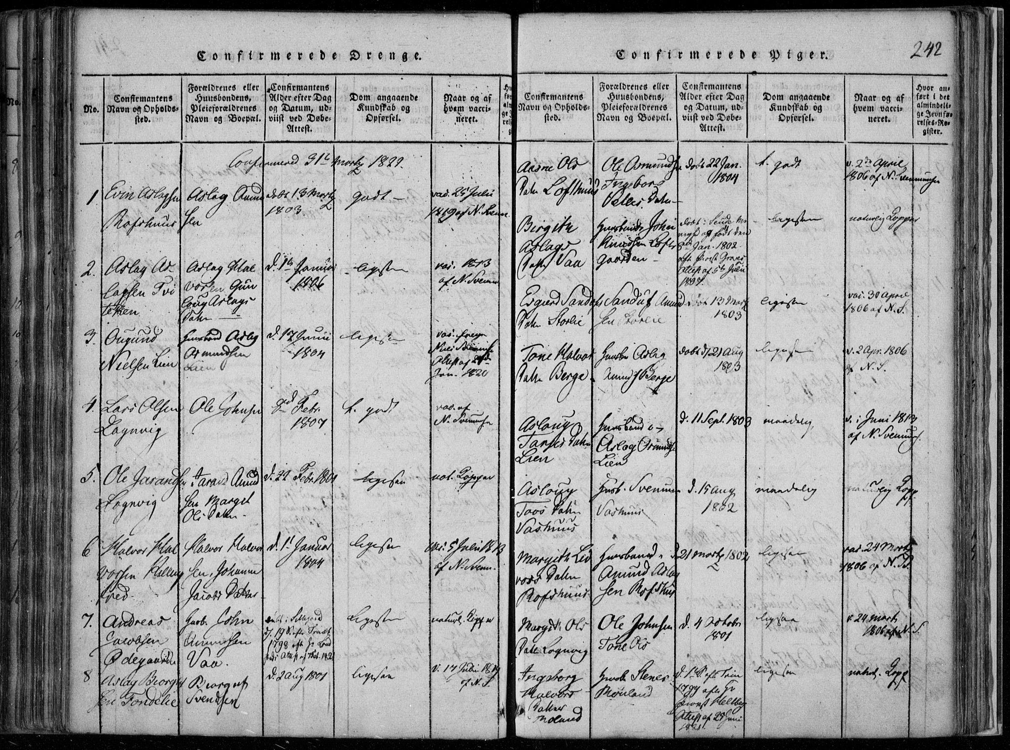 SAKO, Rauland kirkebøker, F/Fa/L0001: Ministerialbok nr. 1, 1814-1859, s. 242