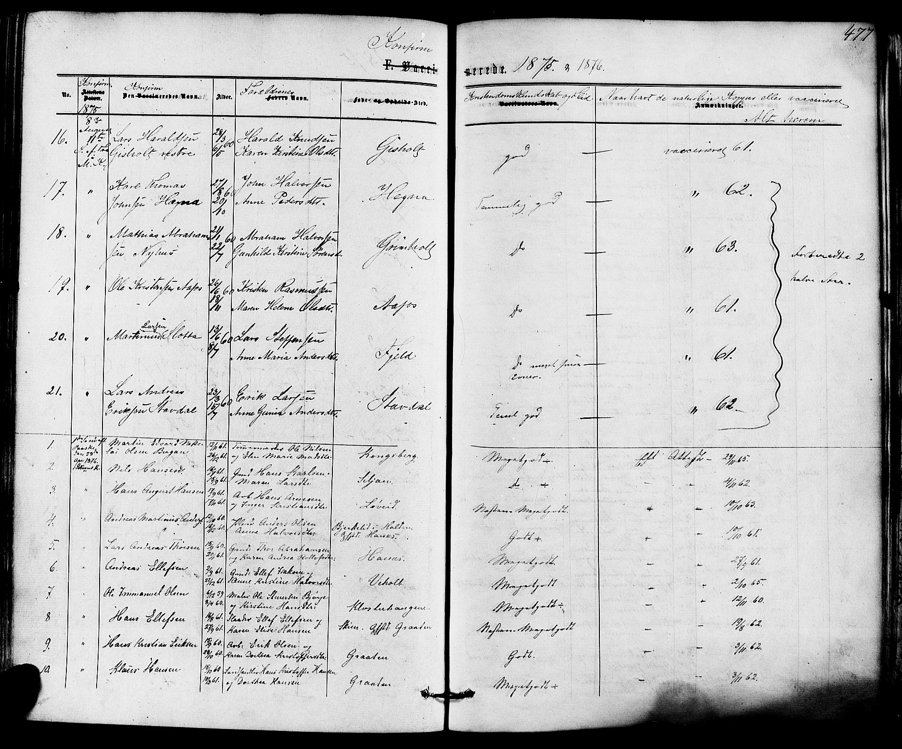 SAKO, Solum kirkebøker, F/Fa/L0008: Ministerialbok nr. I 8, 1865-1876, s. 477