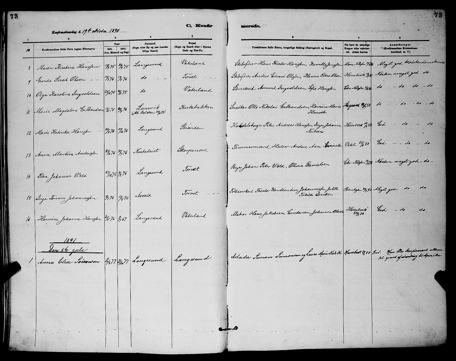 SAKO, Langesund kirkebøker, G/Ga/L0005: Klokkerbok nr. 5, 1884-1898, s. 73