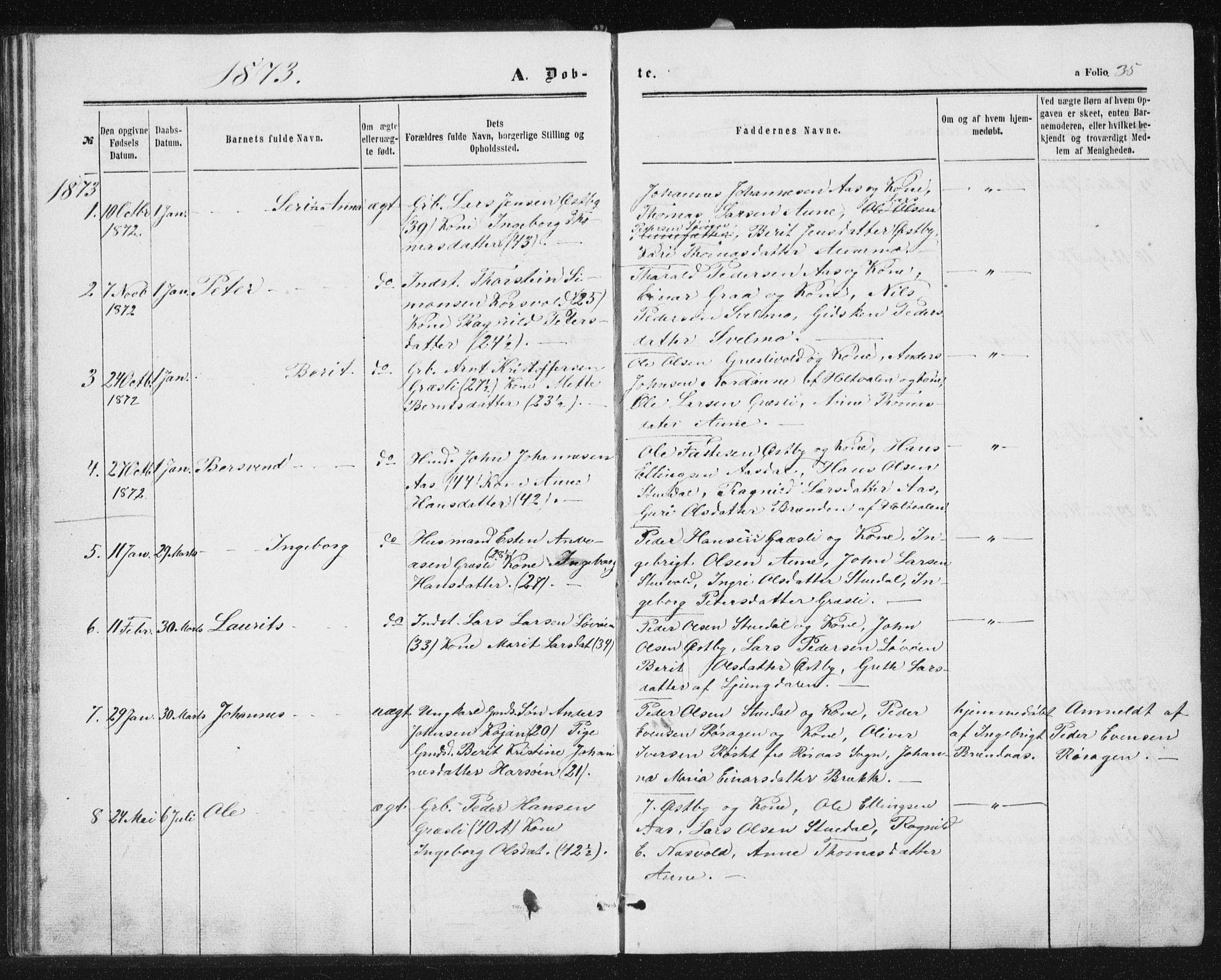 SAT, Ministerialprotokoller, klokkerbøker og fødselsregistre - Sør-Trøndelag, 698/L1166: Klokkerbok nr. 698C03, 1861-1887, s. 35