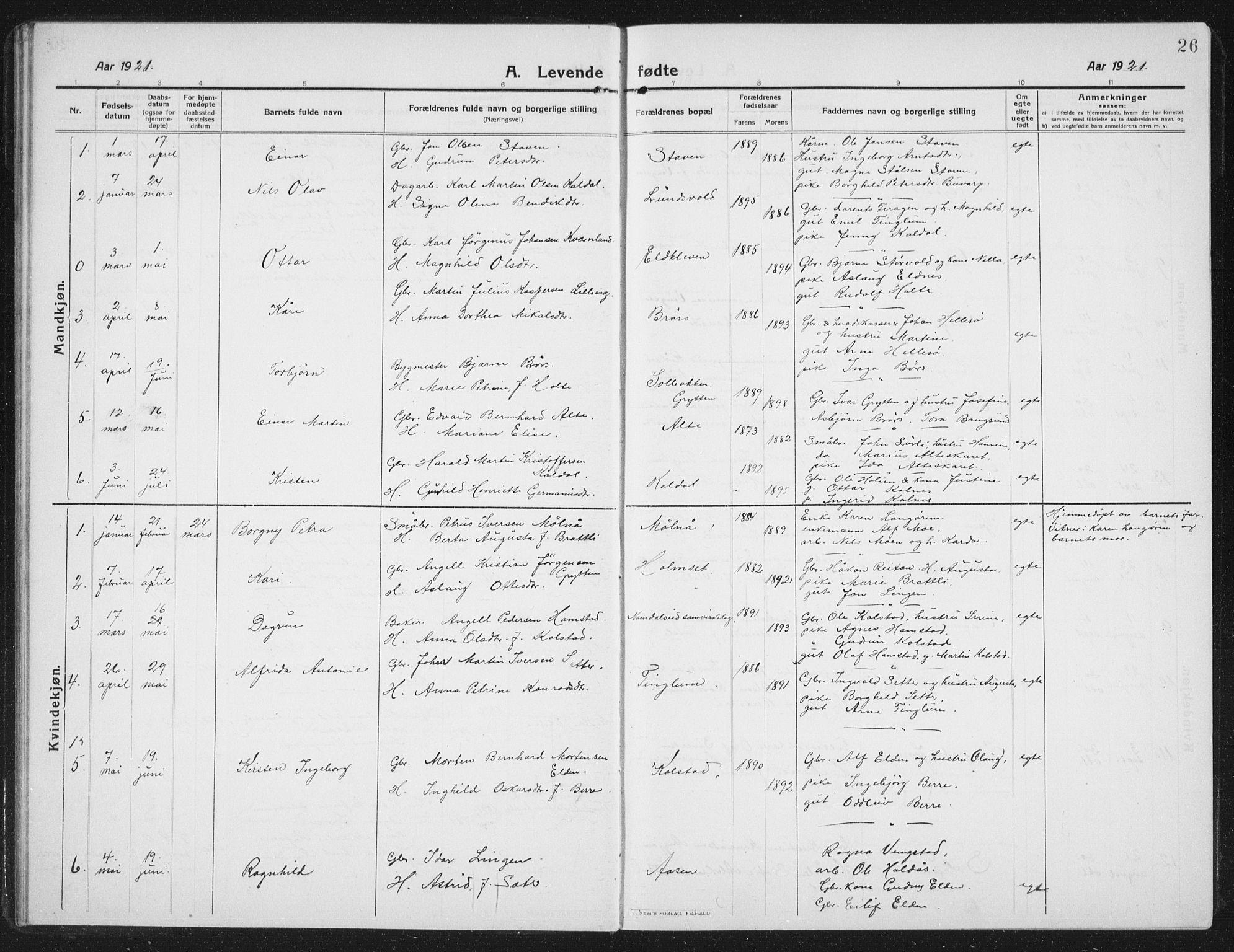 SAT, Ministerialprotokoller, klokkerbøker og fødselsregistre - Nord-Trøndelag, 742/L0413: Klokkerbok nr. 742C04, 1911-1938, s. 26