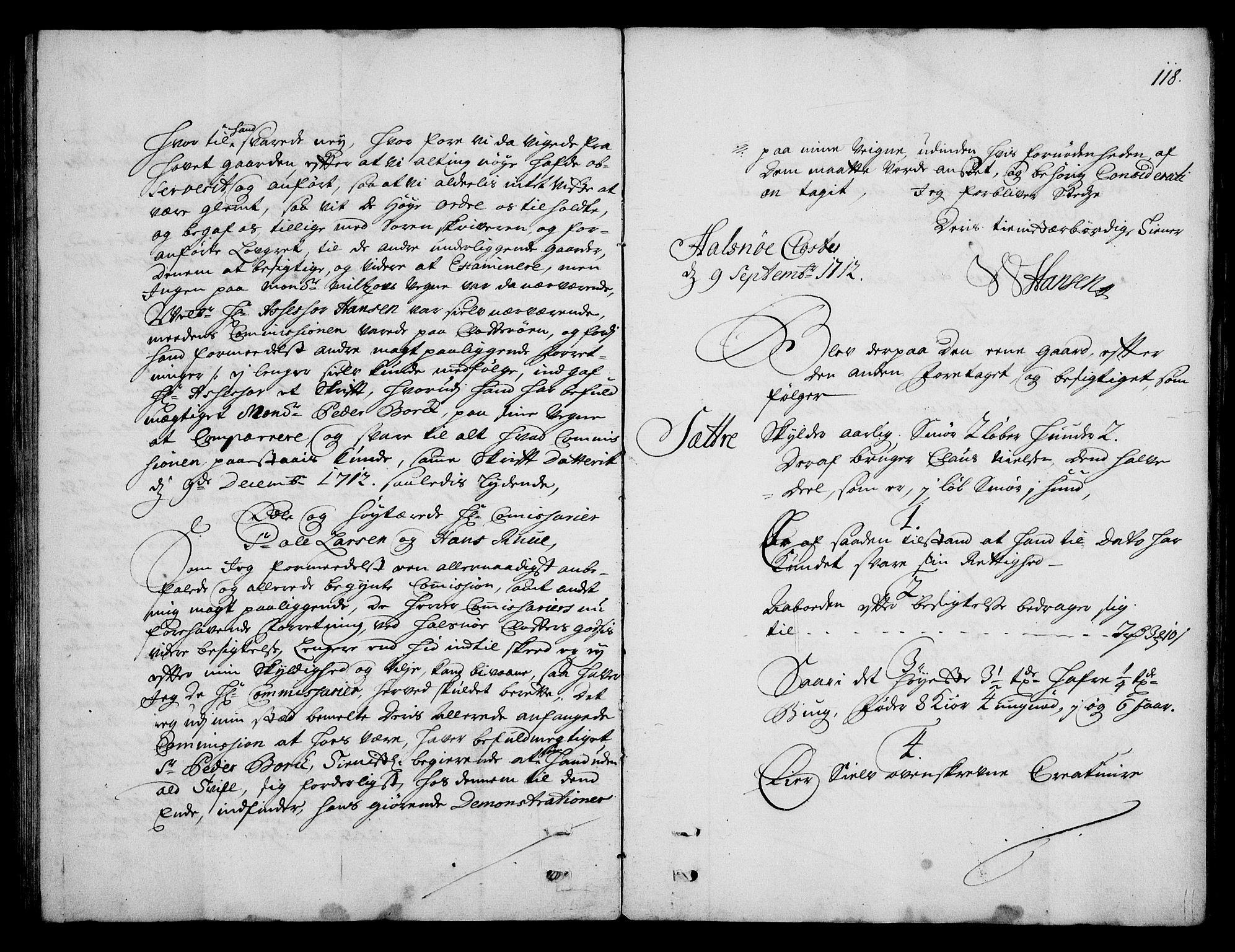 RA, Rentekammeret inntil 1814, Realistisk ordnet avdeling, On/L0003: [Jj 4]: Kommisjonsforretning over Vilhelm Hanssøns forpaktning av Halsnøy klosters gods, 1712-1722, s. 117b-118a