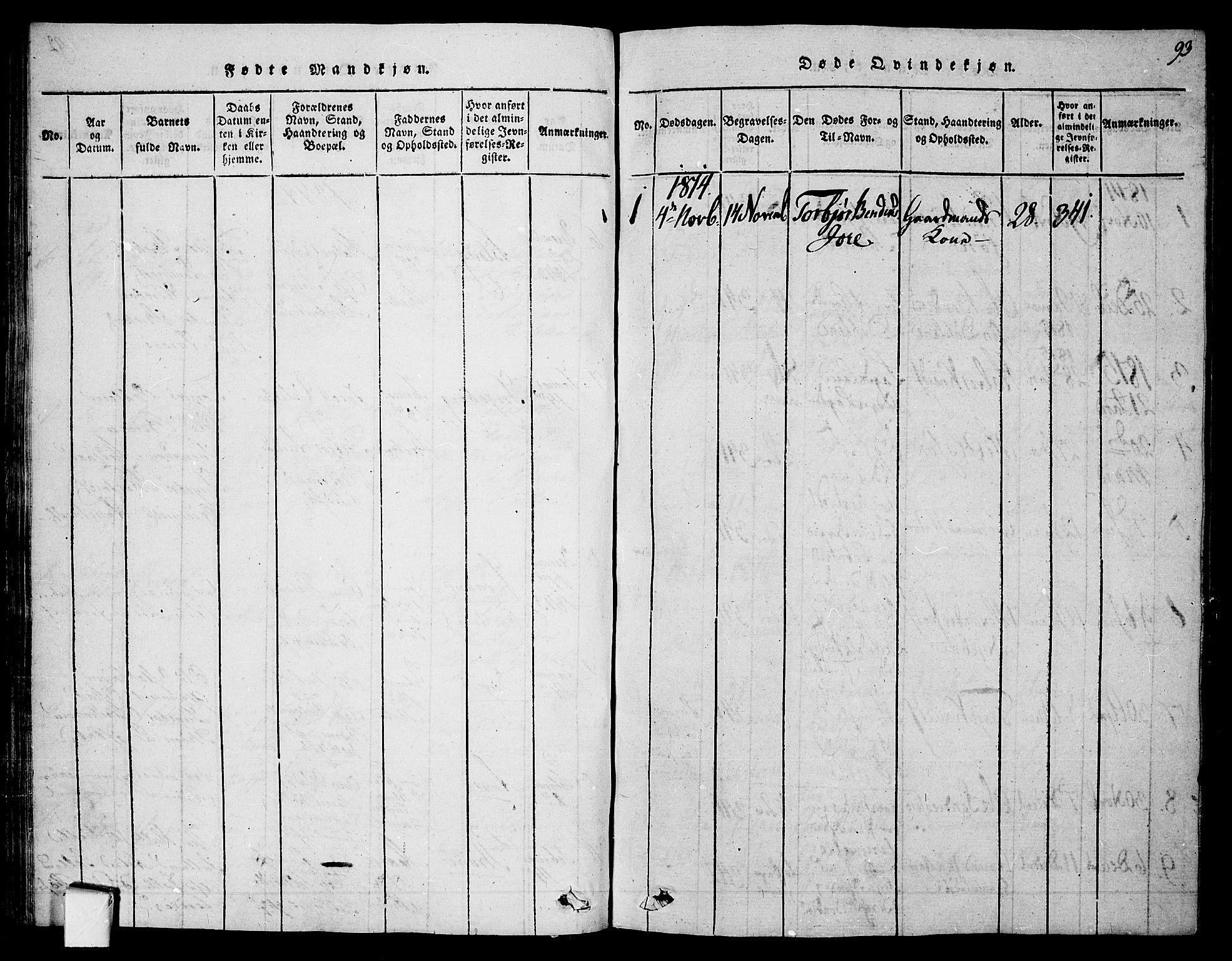 SAKO, Mo kirkebøker, F/Fa/L0004: Ministerialbok nr. I 4, 1814-1844, s. 93