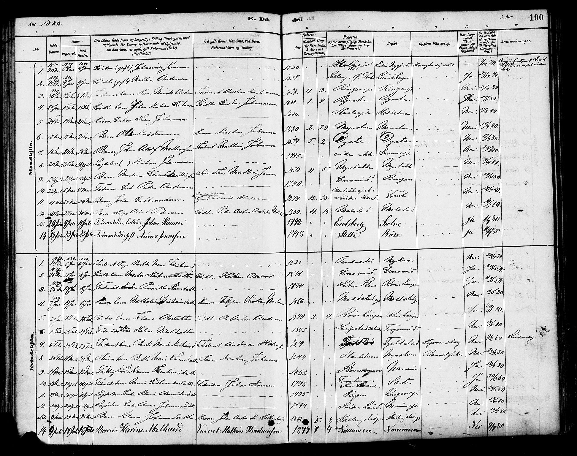 SAH, Vestre Toten prestekontor, H/Ha/Haa/L0010: Ministerialbok nr. 10, 1878-1894, s. 190