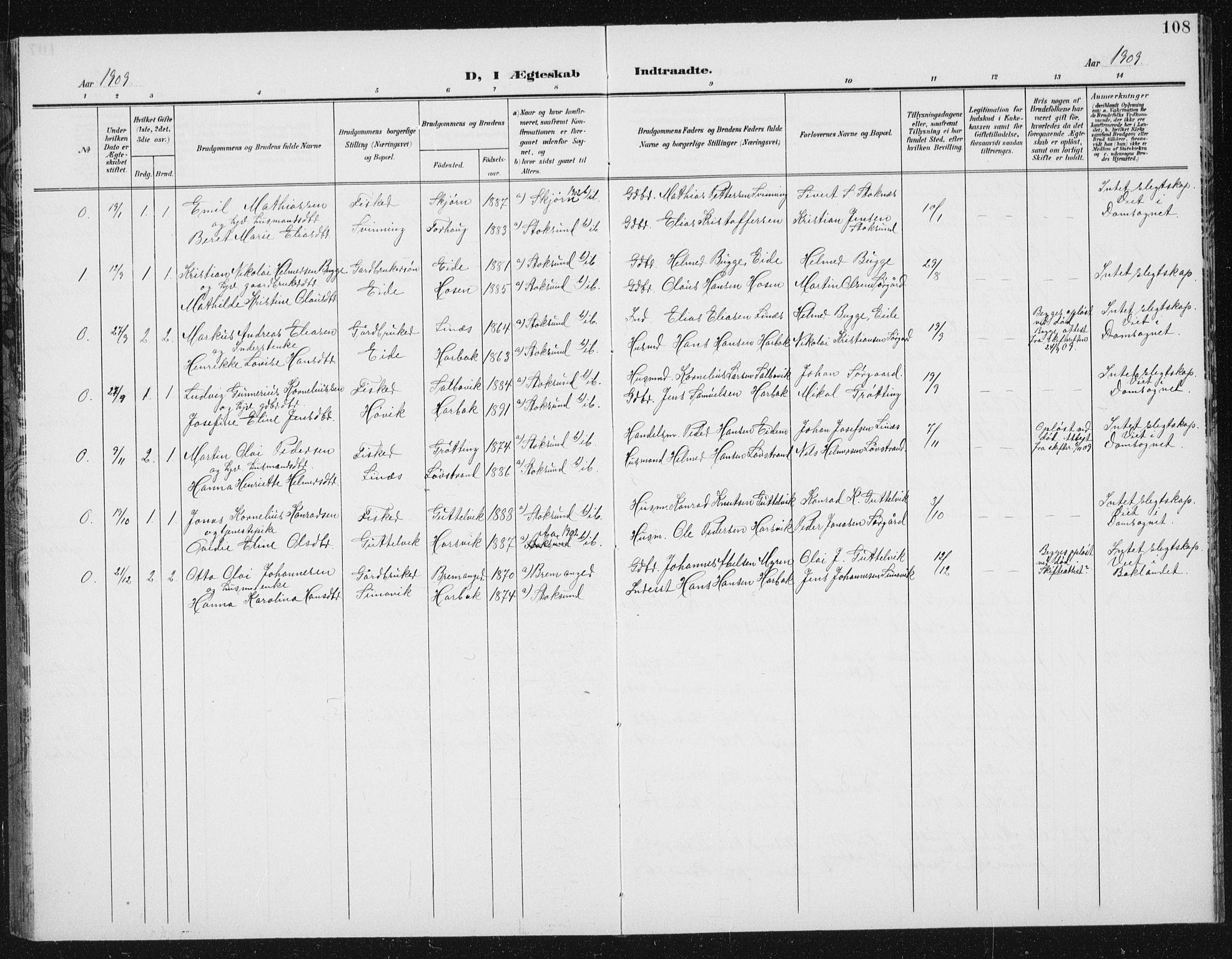SAT, Ministerialprotokoller, klokkerbøker og fødselsregistre - Sør-Trøndelag, 656/L0699: Klokkerbok nr. 656C05, 1905-1920, s. 108