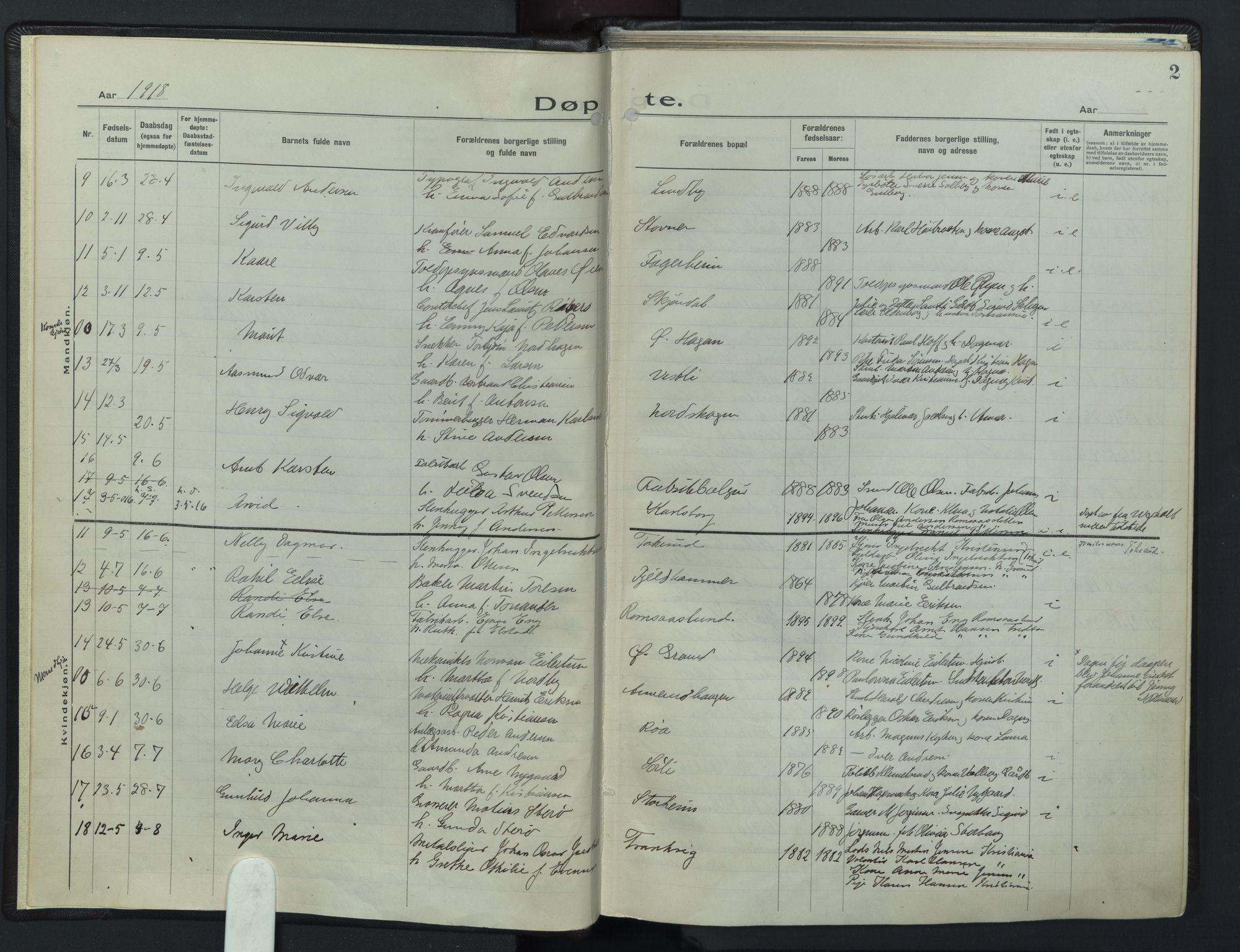 SAO, Østre Aker prestekontor Kirkebøker, F/Fb/L0002: Ministerialbok nr. II 2, 1918-1930, s. 2