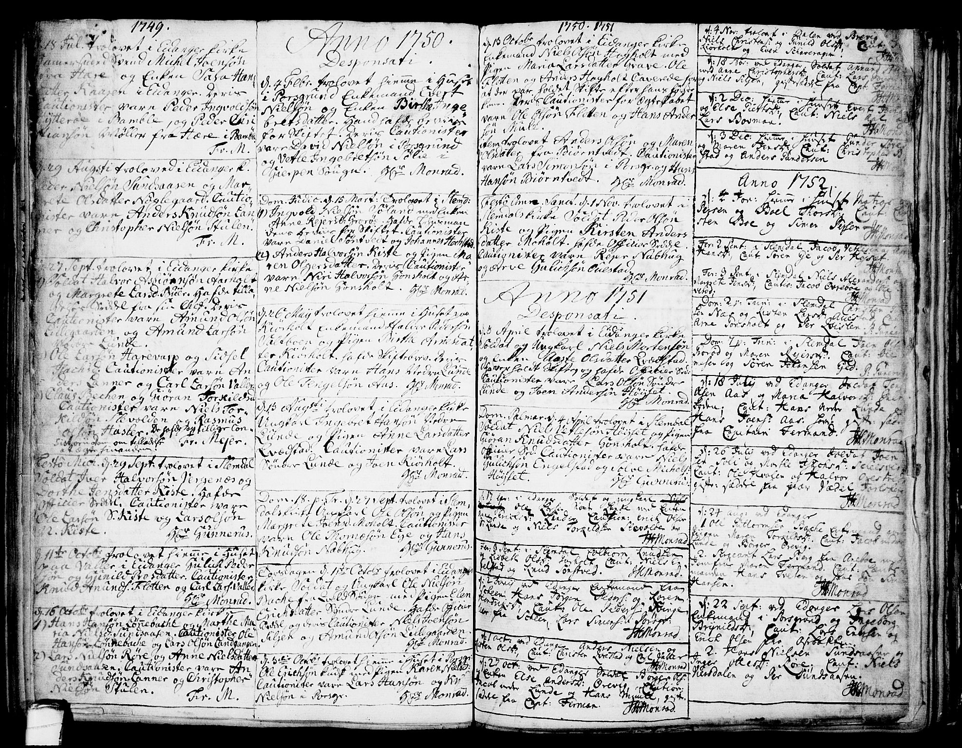 SAKO, Eidanger kirkebøker, F/Fa/L0004: Ministerialbok nr. 4, 1733-1759