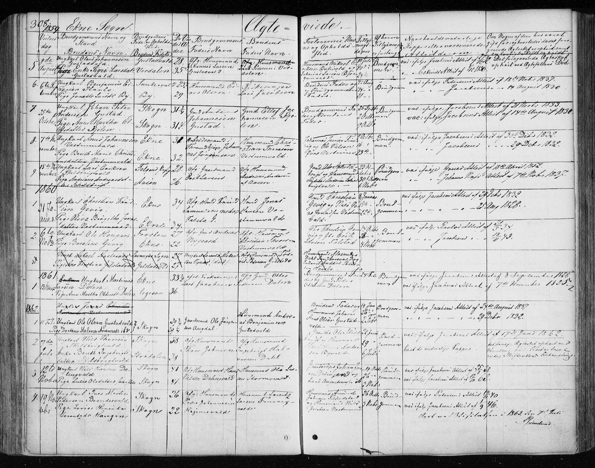 SAT, Ministerialprotokoller, klokkerbøker og fødselsregistre - Nord-Trøndelag, 717/L0154: Ministerialbok nr. 717A07 /3, 1850-1862, s. 308