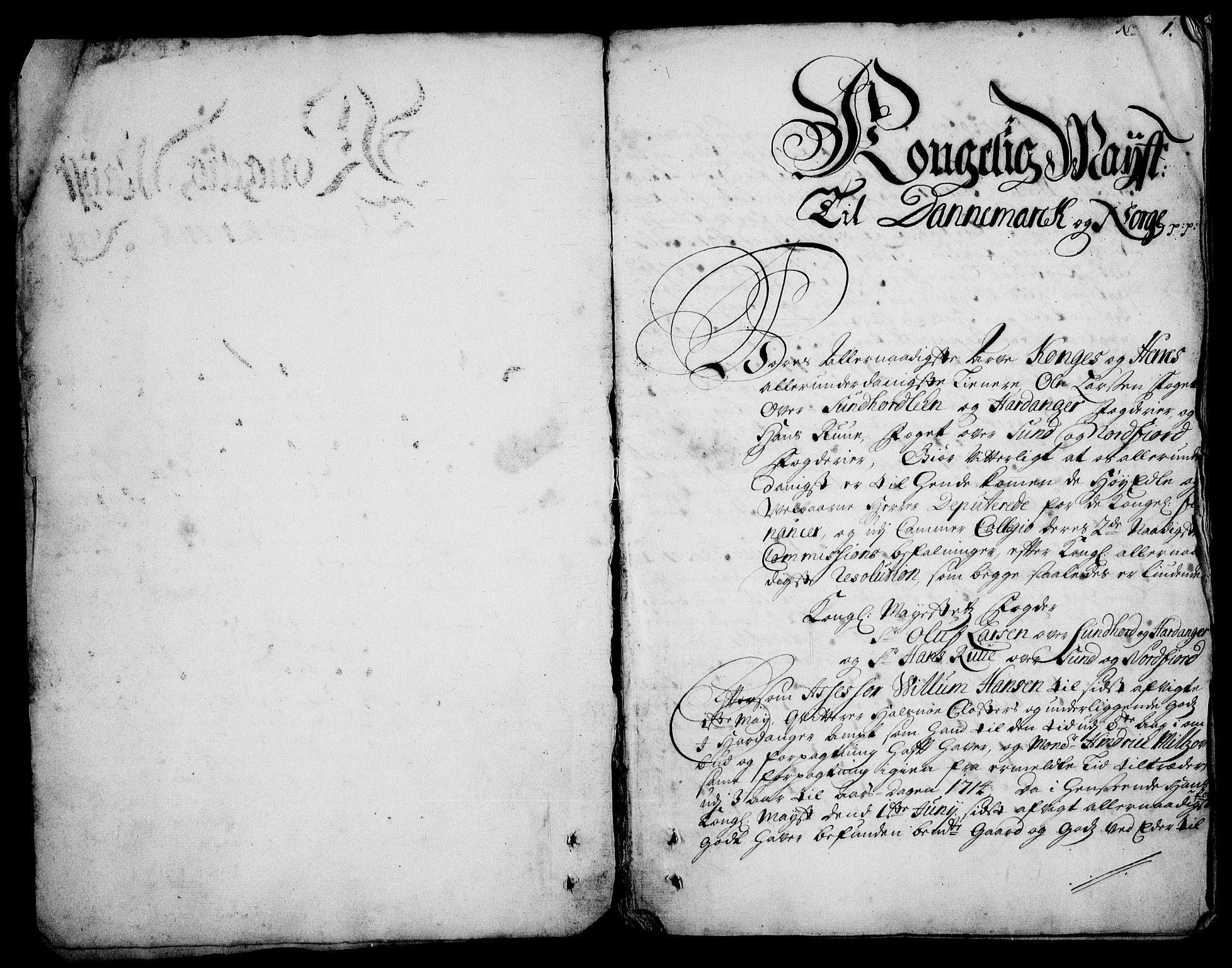 RA, Rentekammeret inntil 1814, Realistisk ordnet avdeling, On/L0003: [Jj 4]: Kommisjonsforretning over Vilhelm Hanssøns forpaktning av Halsnøy klosters gods, 1712-1722, s. 1a