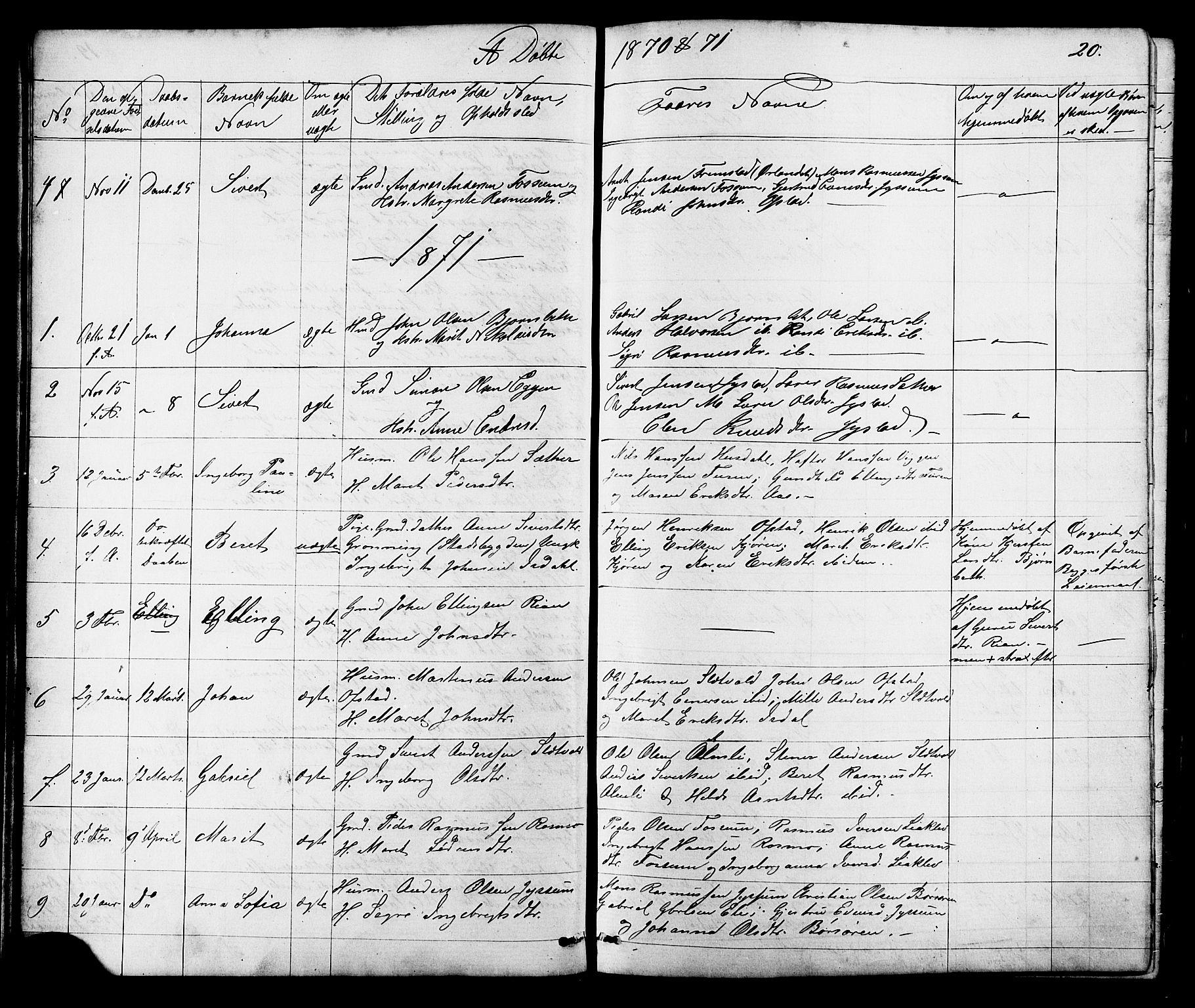 SAT, Ministerialprotokoller, klokkerbøker og fødselsregistre - Sør-Trøndelag, 665/L0777: Klokkerbok nr. 665C02, 1867-1915, s. 20