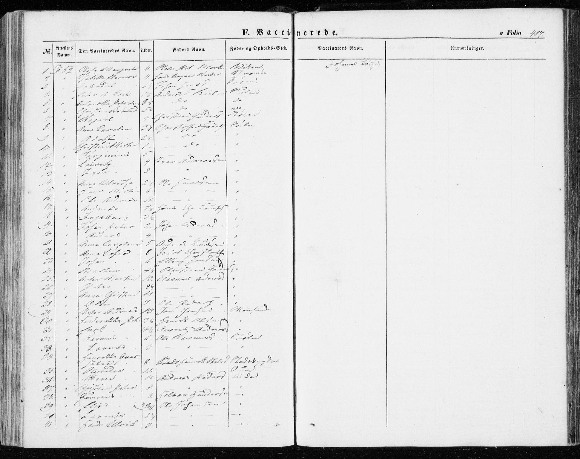 SAT, Ministerialprotokoller, klokkerbøker og fødselsregistre - Sør-Trøndelag, 634/L0530: Ministerialbok nr. 634A06, 1852-1860, s. 407