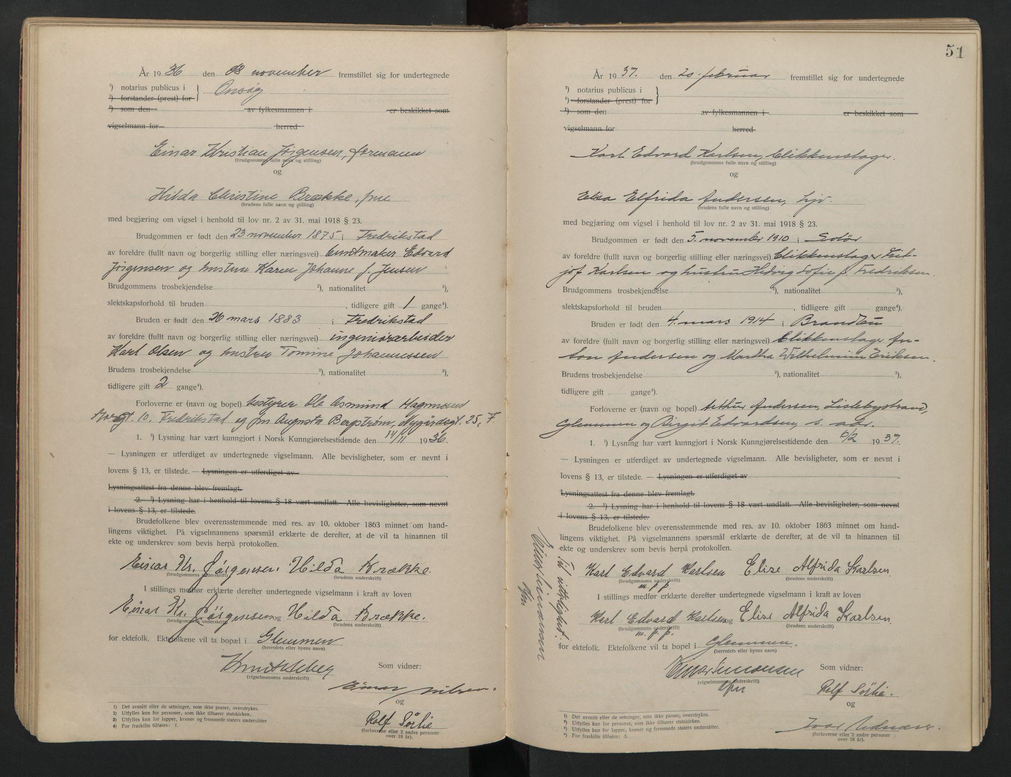SAO, Onsøy sorenskriveri, L/La/L0001: Vigselsbok, 1920-1942, s. 51