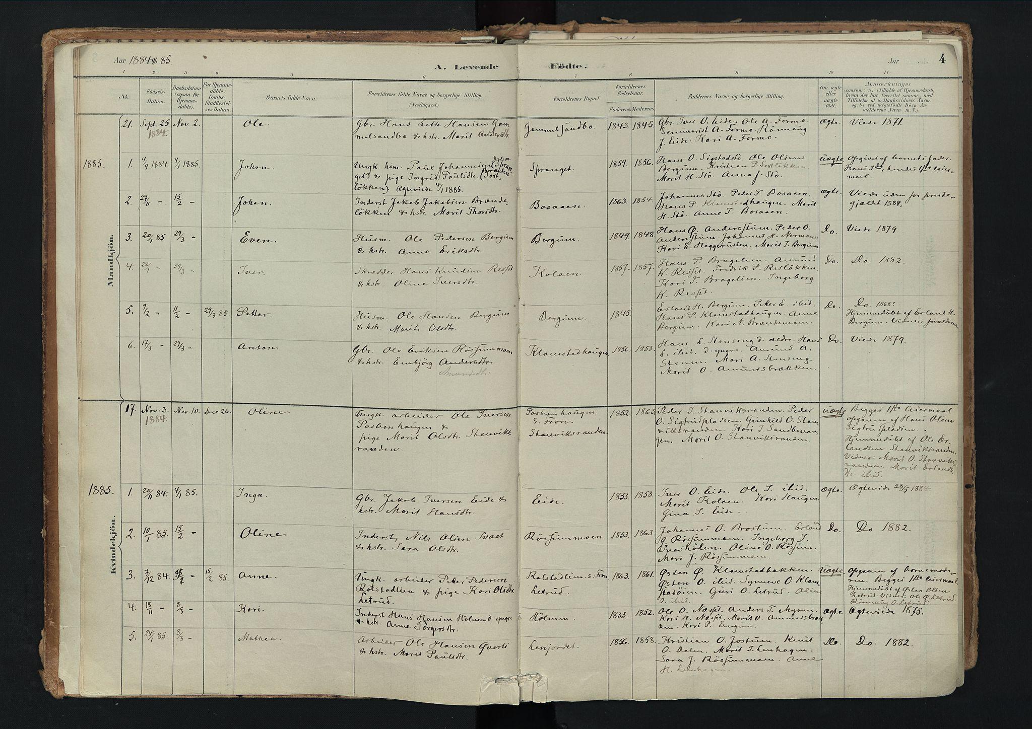 SAH, Nord-Fron prestekontor, Ministerialbok nr. 3, 1884-1914, s. 4