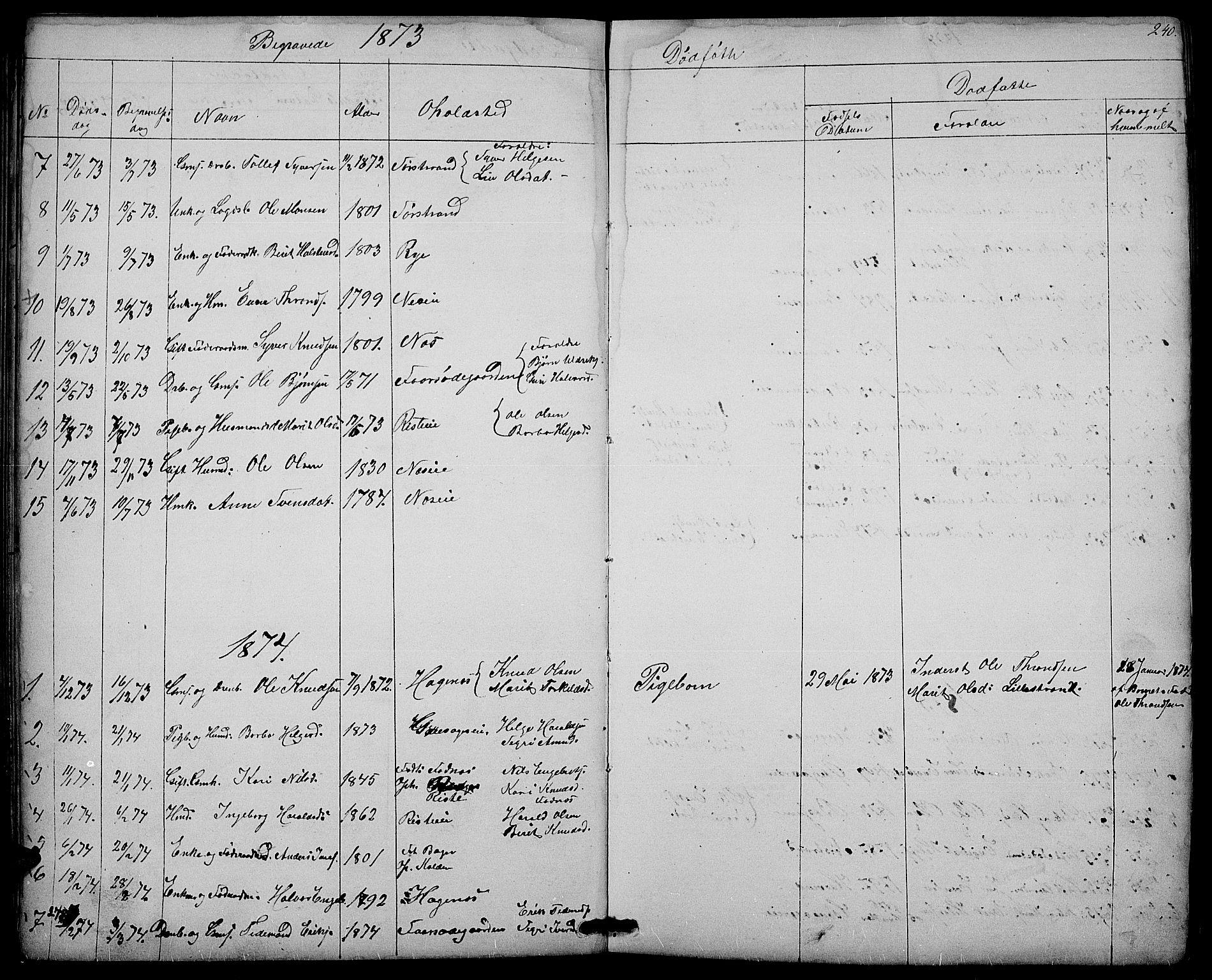 SAH, Nord-Aurdal prestekontor, Klokkerbok nr. 3, 1842-1882, s. 240