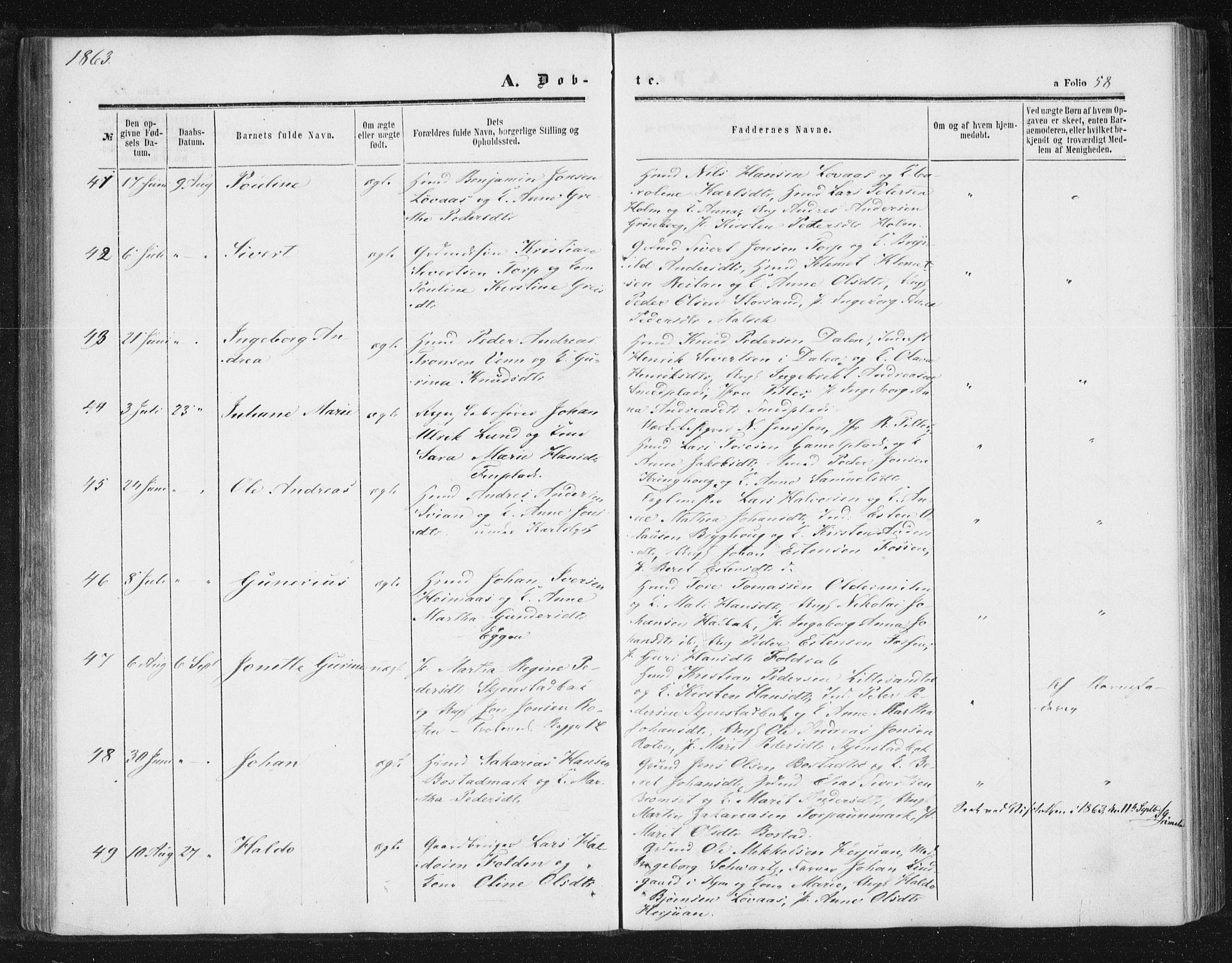 SAT, Ministerialprotokoller, klokkerbøker og fødselsregistre - Sør-Trøndelag, 616/L0408: Ministerialbok nr. 616A05, 1857-1865, s. 58