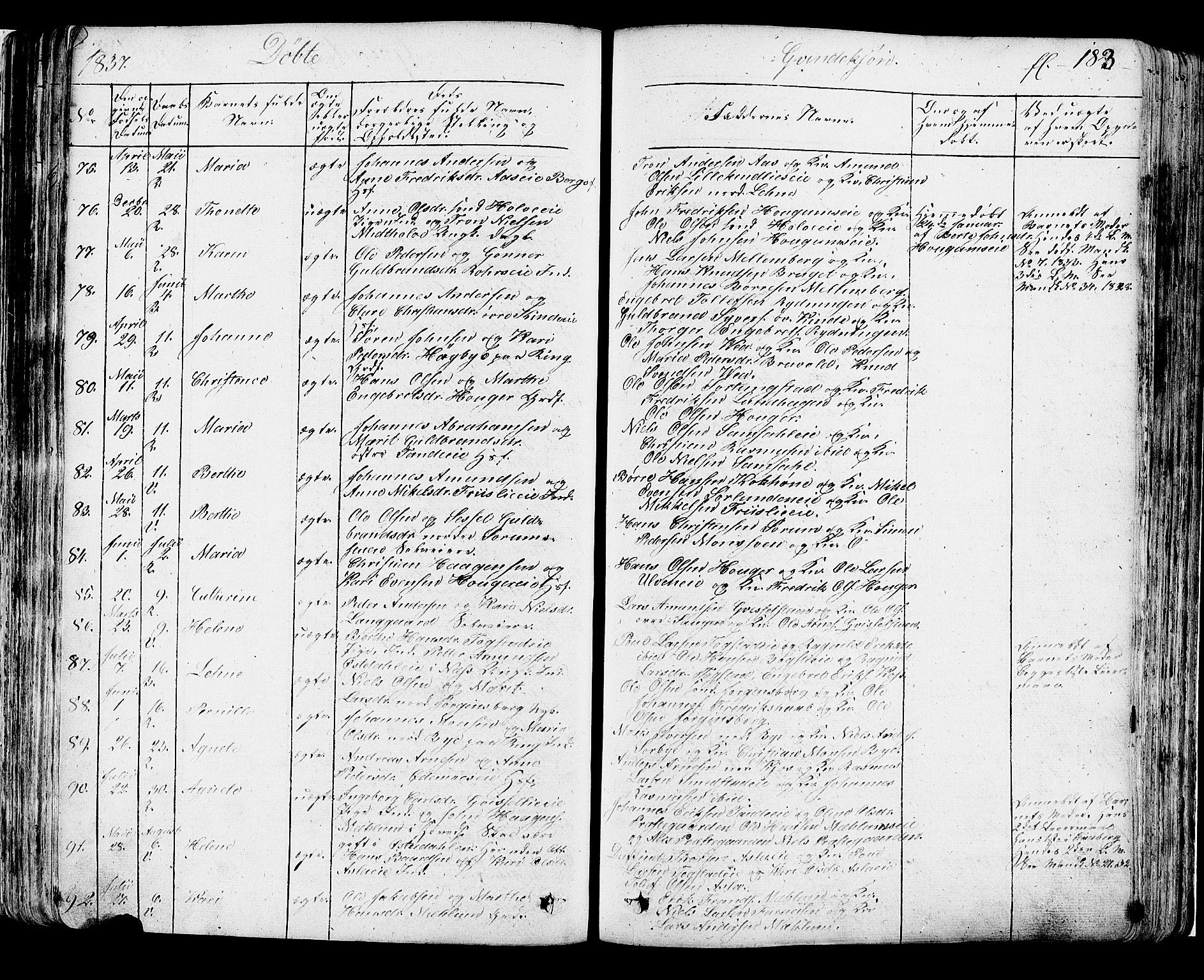 SAH, Ringsaker prestekontor, K/Ka/L0007: Ministerialbok nr. 7A, 1826-1837, s. 183