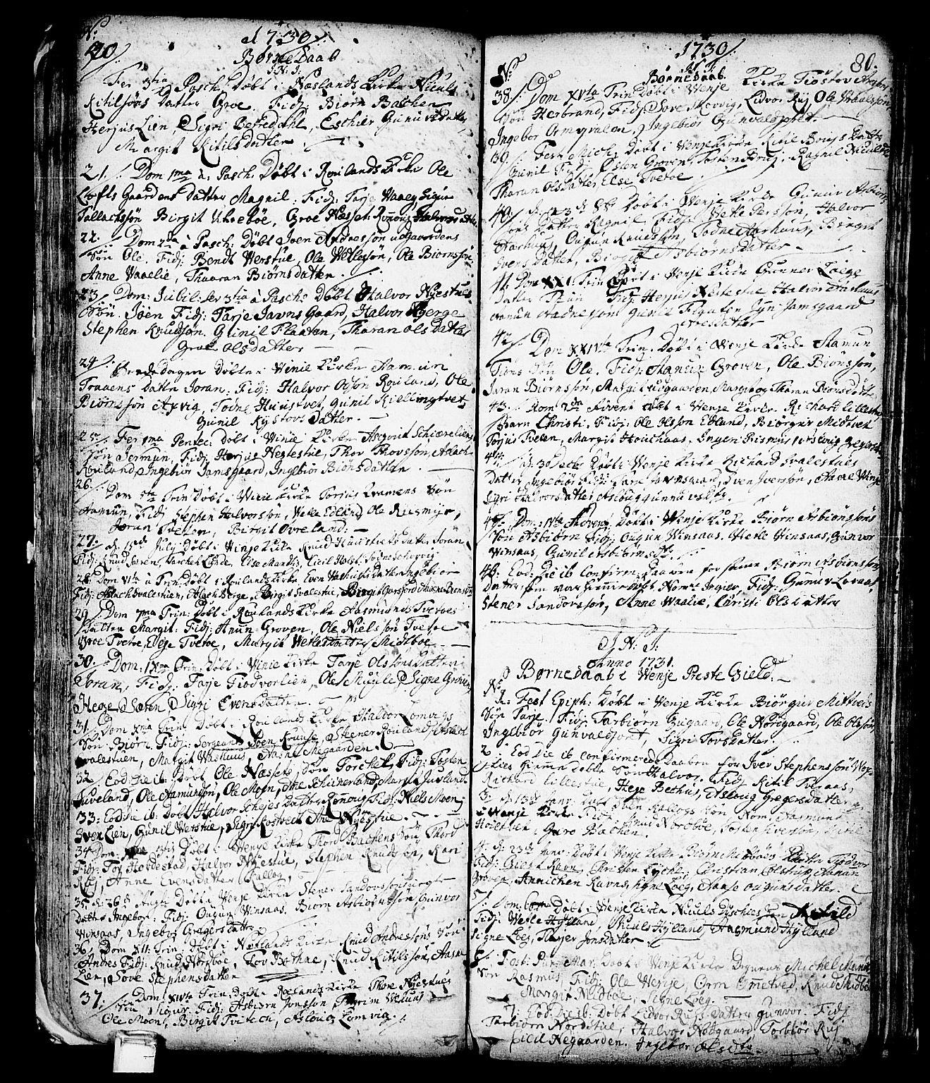 SAKO, Vinje kirkebøker, F/Fa/L0001: Ministerialbok nr. I 1, 1717-1766, s. 80