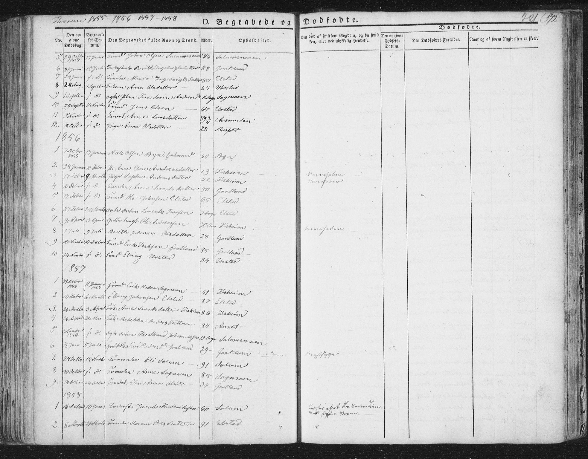 SAT, Ministerialprotokoller, klokkerbøker og fødselsregistre - Nord-Trøndelag, 758/L0513: Ministerialbok nr. 758A02 /3, 1839-1868, s. 221