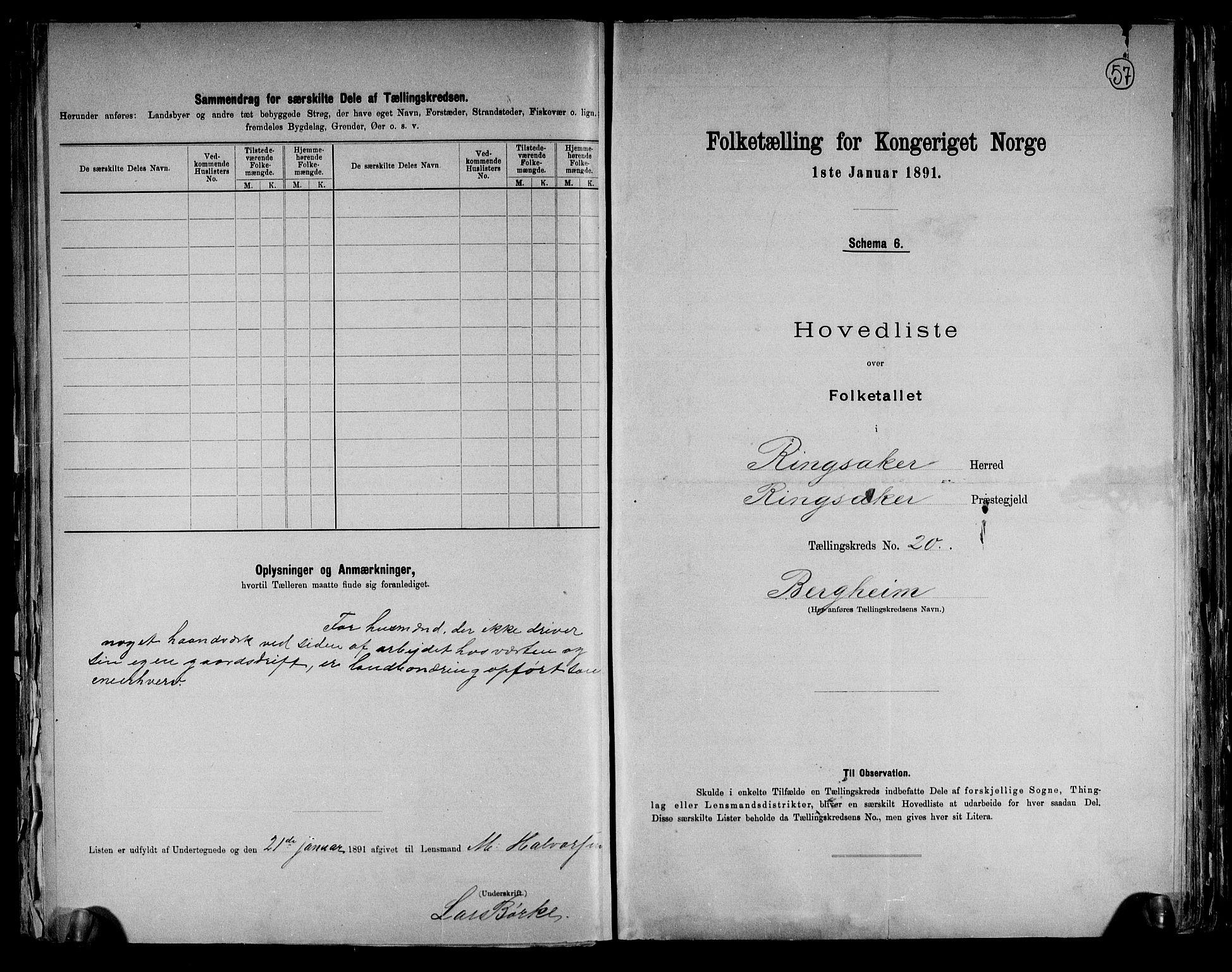 RA, Folketelling 1891 for 0412 Ringsaker herred, 1891, s. 57