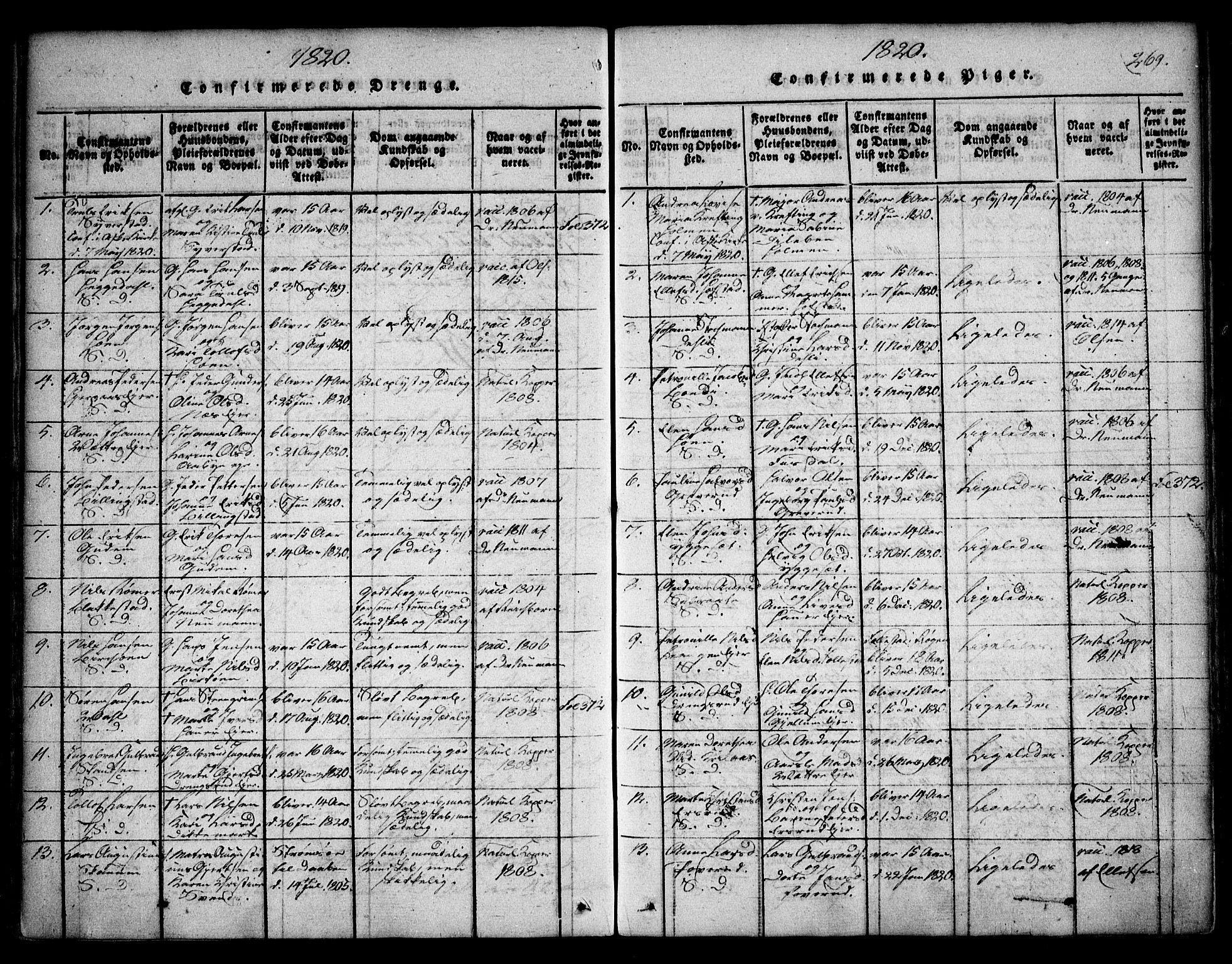 SAO, Asker prestekontor Kirkebøker, F/Fa/L0006: Ministerialbok nr. I 6, 1814-1824, s. 269