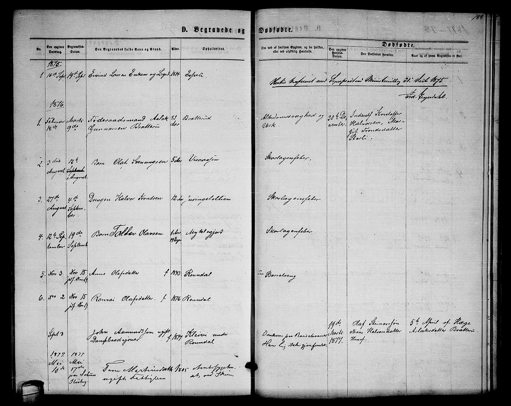 SAKO, Lårdal kirkebøker, G/Gb/L0002: Klokkerbok nr. II 2, 1865-1888, s. 188