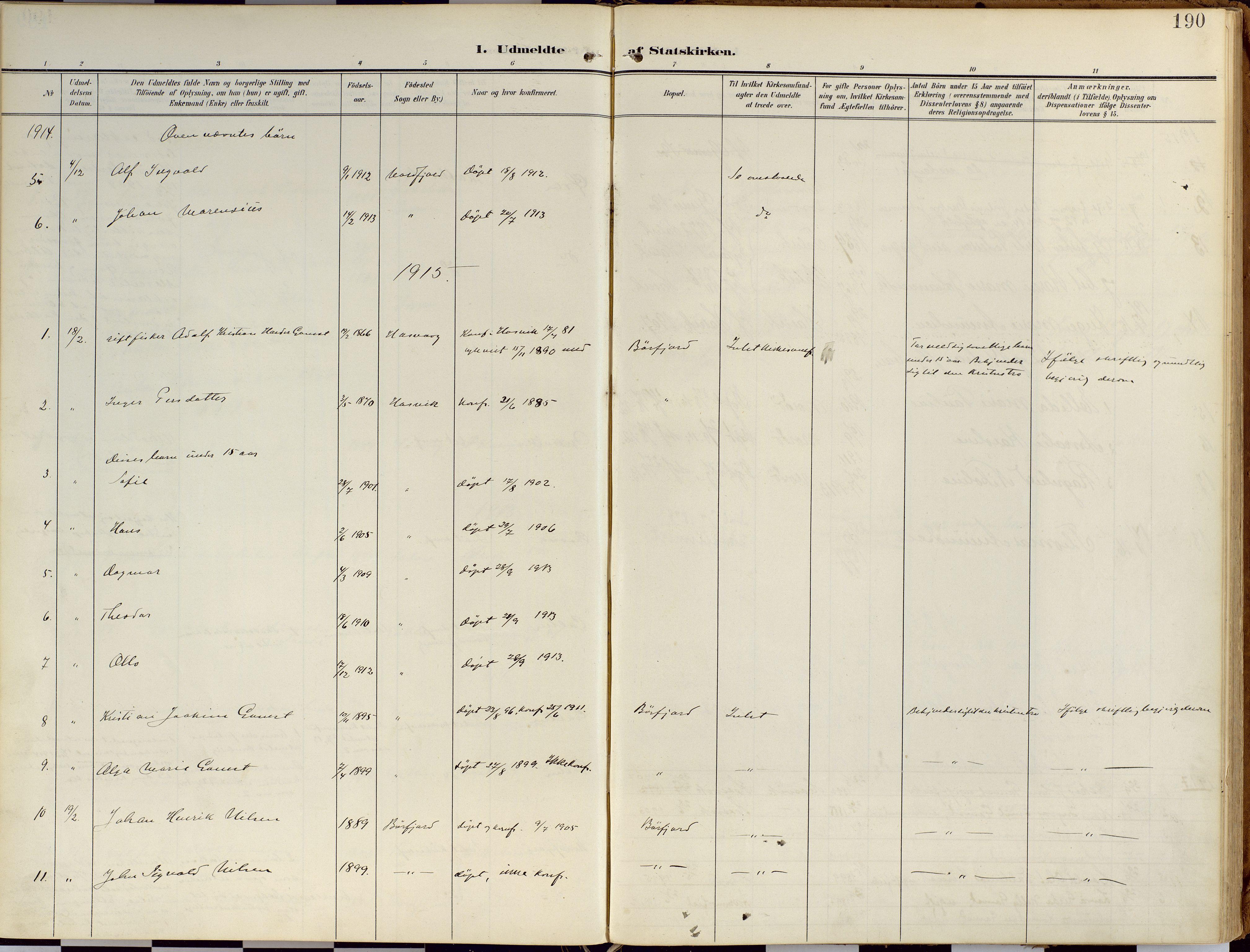 SATØ, Loppa sokneprestkontor, H/Ha/L0010kirke: Ministerialbok nr. 10, 1907-1922, s. 190