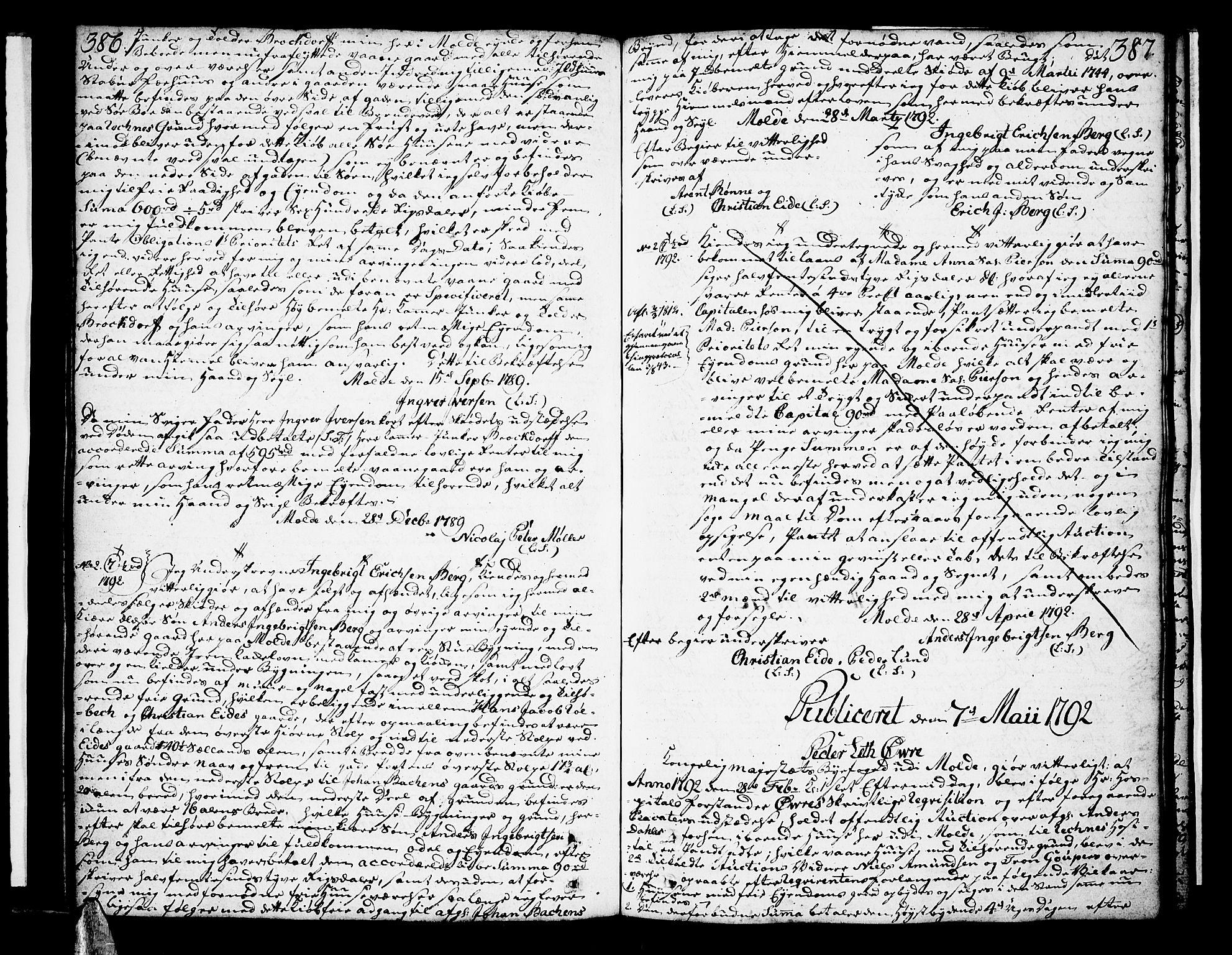 SAT, Molde byfogd, 2C/L0001: Pantebok nr. 1, 1748-1823, s. 386-387