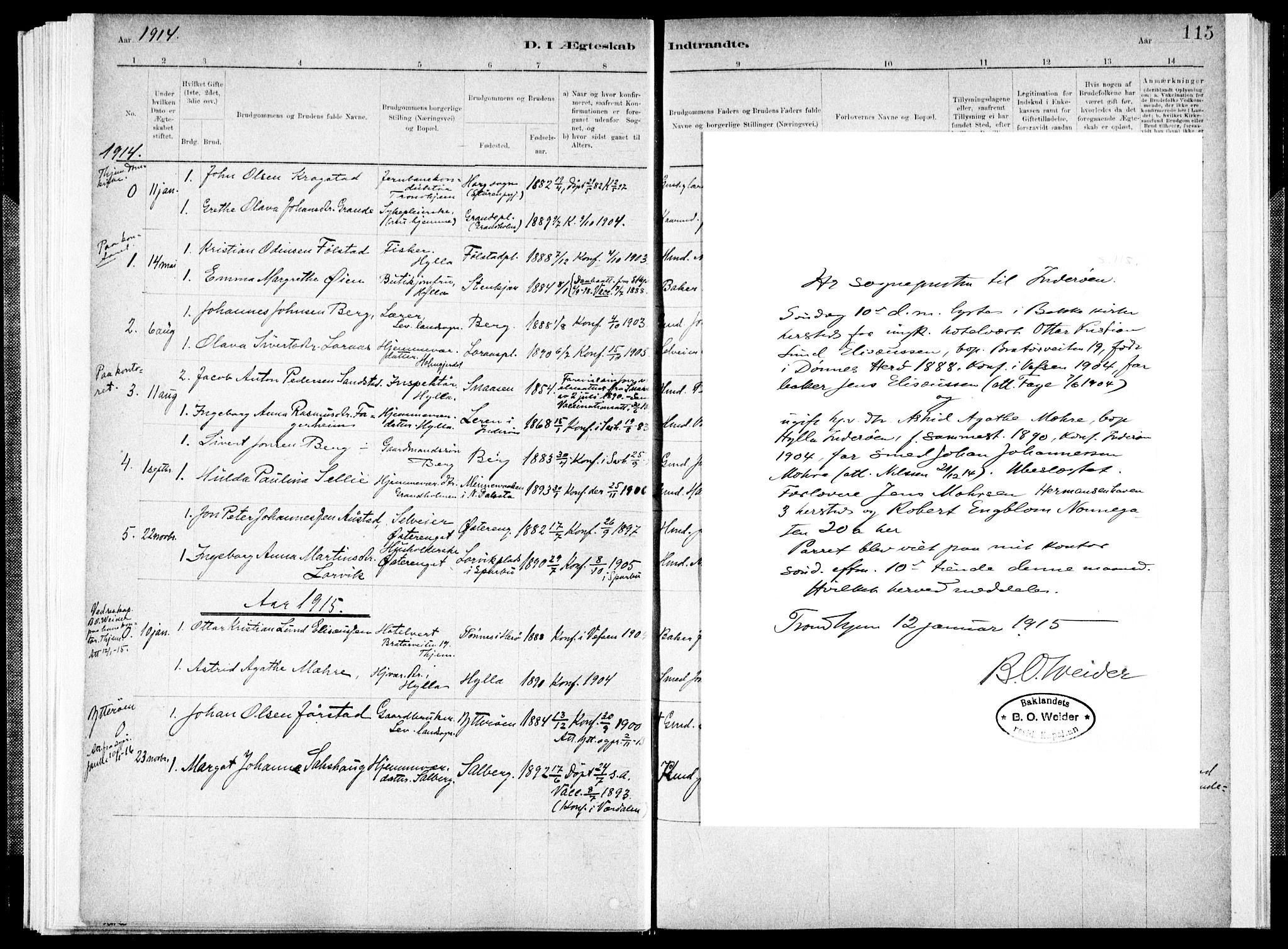 SAT, Ministerialprotokoller, klokkerbøker og fødselsregistre - Nord-Trøndelag, 731/L0309: Ministerialbok nr. 731A01, 1879-1918, s. 115