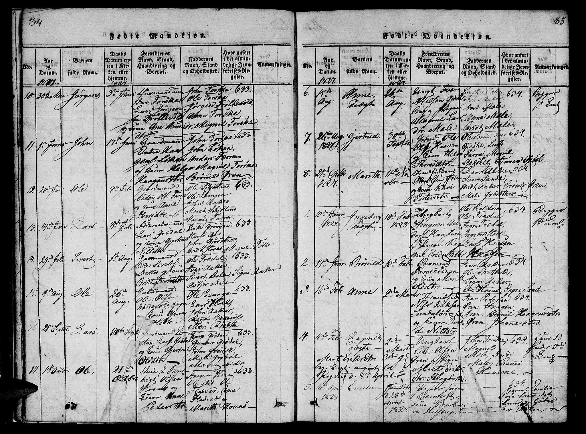 SAT, Ministerialprotokoller, klokkerbøker og fødselsregistre - Møre og Romsdal, 590/L1009: Ministerialbok nr. 590A03 /1, 1819-1832, s. 34-35