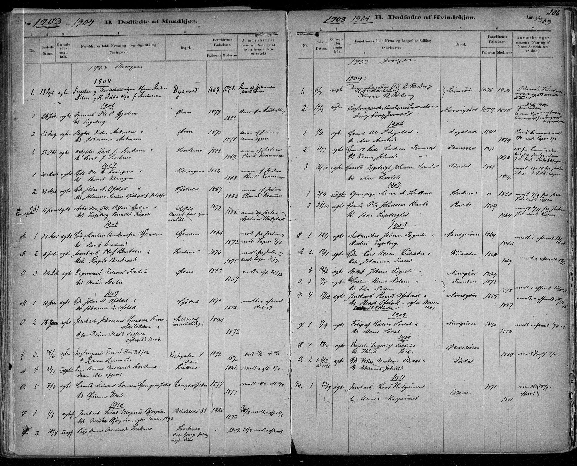 SAT, Ministerialprotokoller, klokkerbøker og fødselsregistre - Sør-Trøndelag, 668/L0811: Ministerialbok nr. 668A11, 1894-1913, s. 206