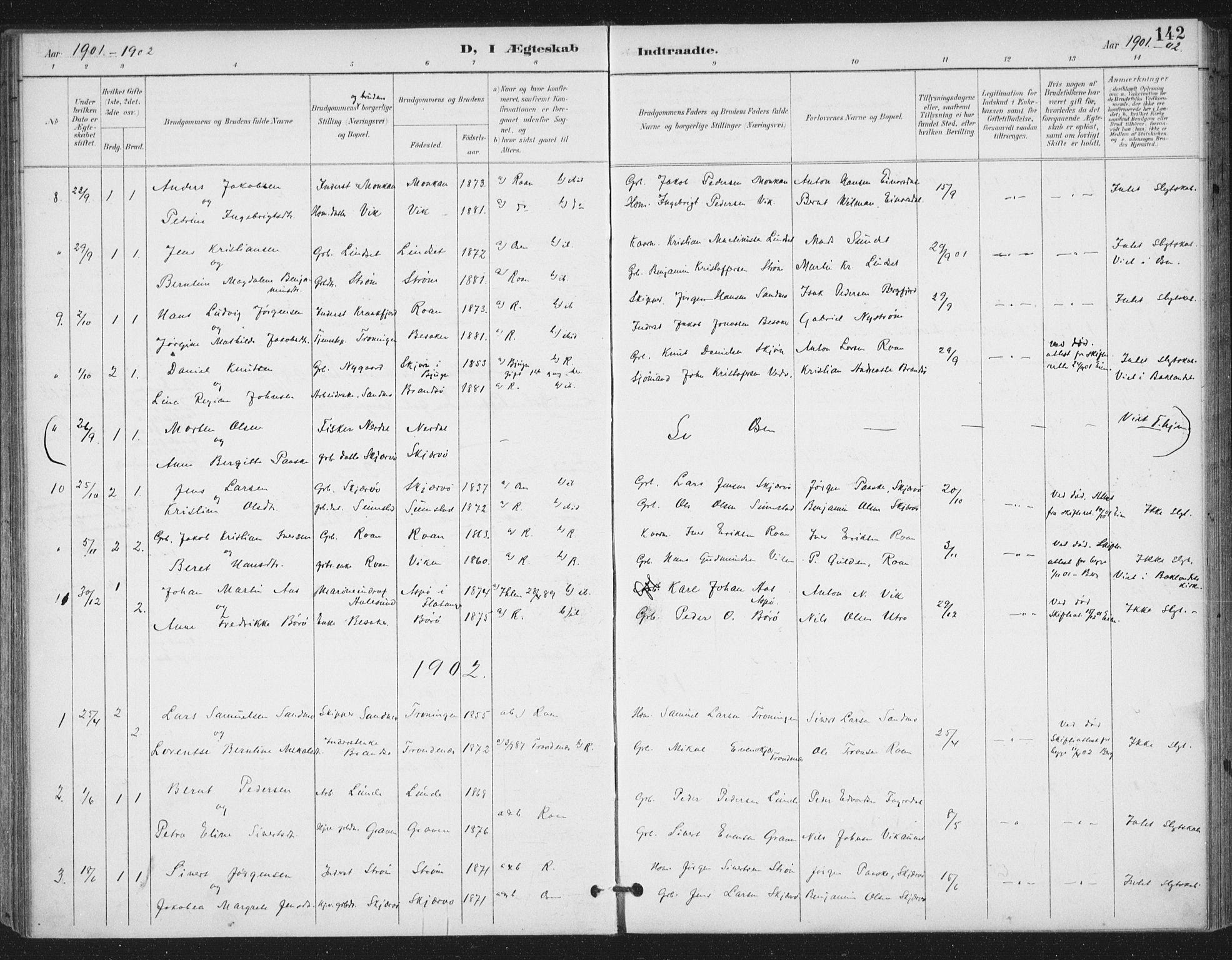 SAT, Ministerialprotokoller, klokkerbøker og fødselsregistre - Sør-Trøndelag, 657/L0708: Ministerialbok nr. 657A09, 1894-1904, s. 142