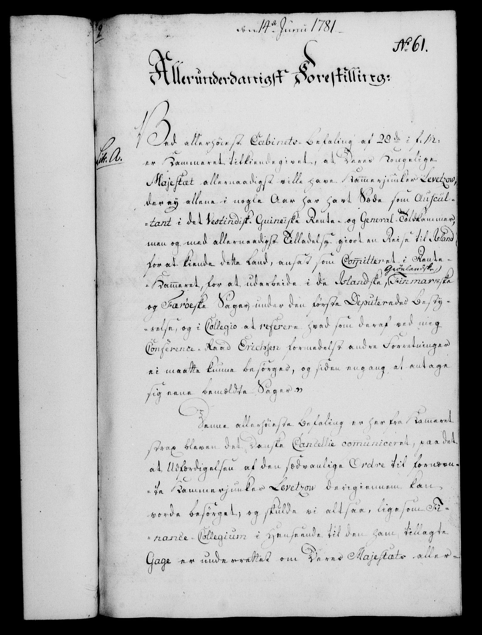 RA, Rentekammeret, Kammerkanselliet, G/Gf/Gfa/L0063: Norsk relasjons- og resolusjonsprotokoll (merket RK 52.63), 1781, s. 740
