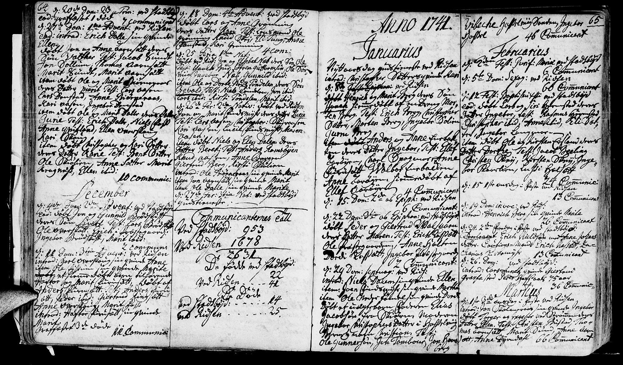 SAT, Ministerialprotokoller, klokkerbøker og fødselsregistre - Sør-Trøndelag, 646/L0604: Ministerialbok nr. 646A02, 1735-1750, s. 64-65