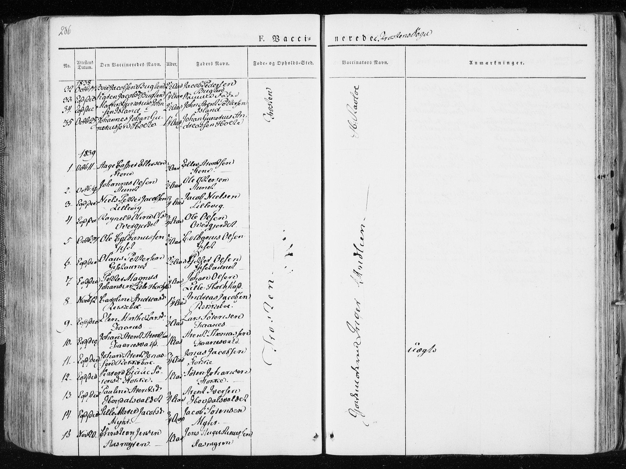 SAT, Ministerialprotokoller, klokkerbøker og fødselsregistre - Nord-Trøndelag, 713/L0114: Ministerialbok nr. 713A05, 1827-1839, s. 286