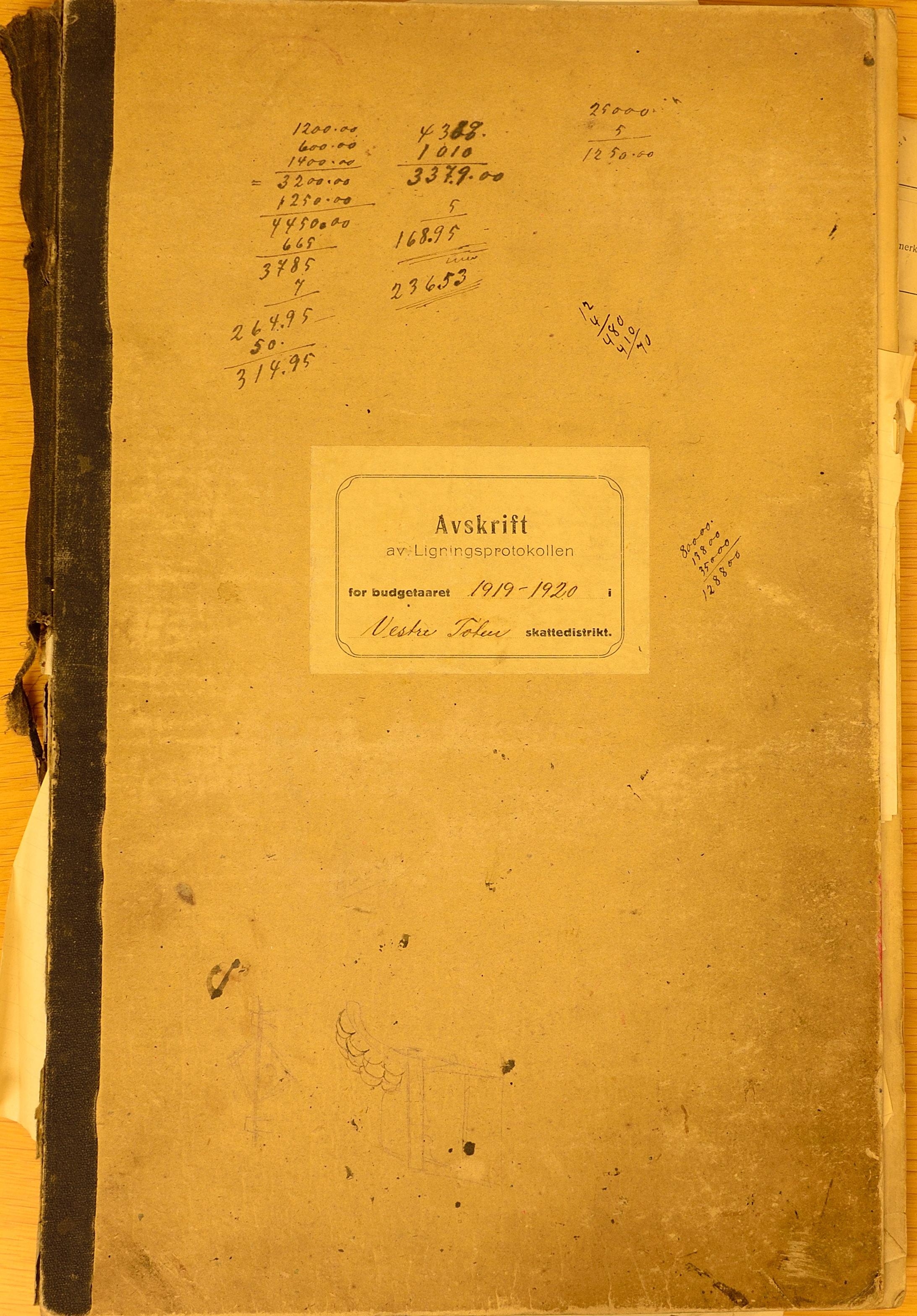 KVT, Vestre Toten kommunearkiv*, -: Avskrift av ligningsprotokollen for budsjettåret 1919-1920 for Vestre Toten skattedistrikt, 1919-1920