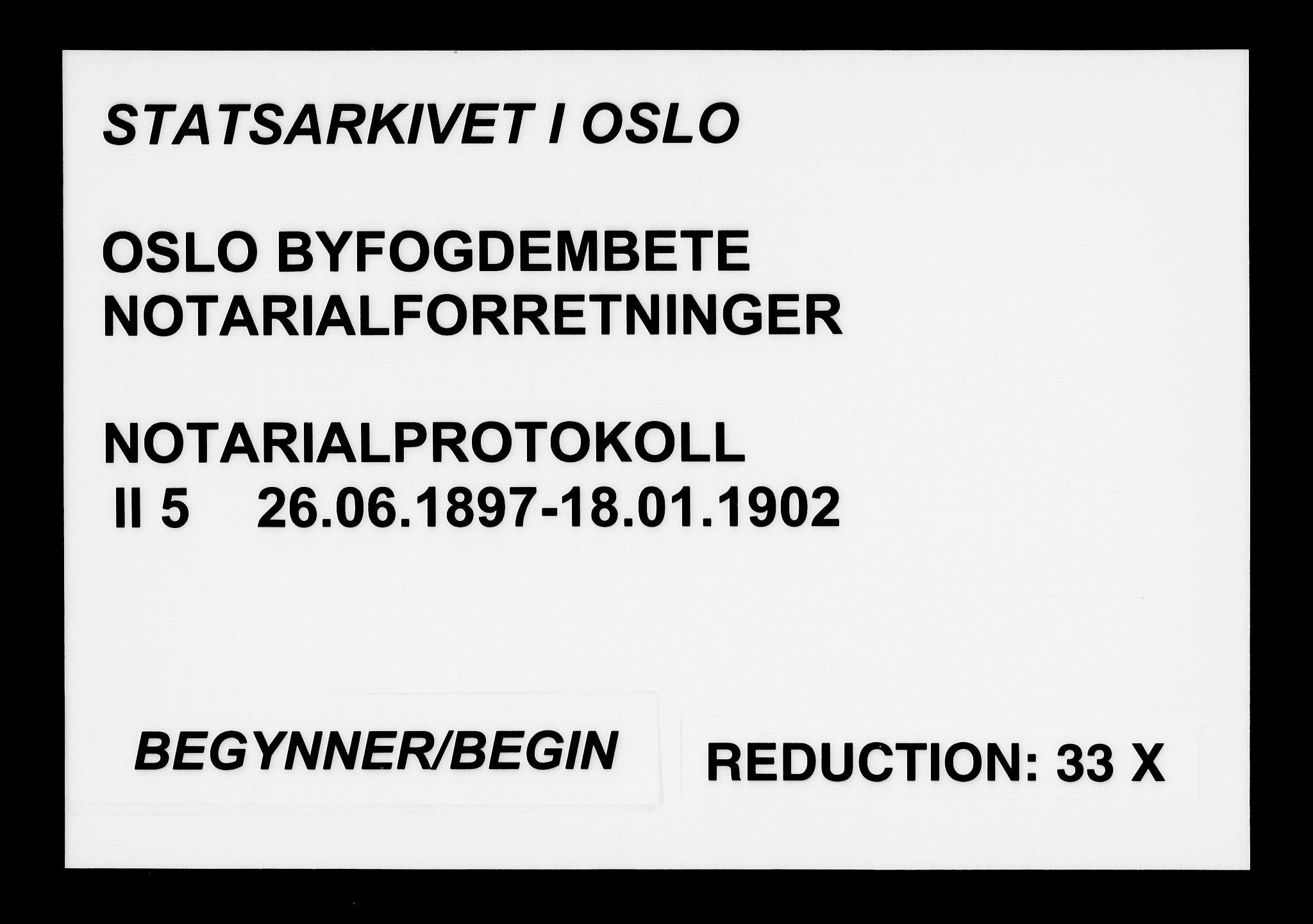 SAO, Oslo byfogd avd. I, L/Lb/Lbb/L0005: Notarialprotokoll, rekke II: Vigsler, 1897-1902, s. upaginert