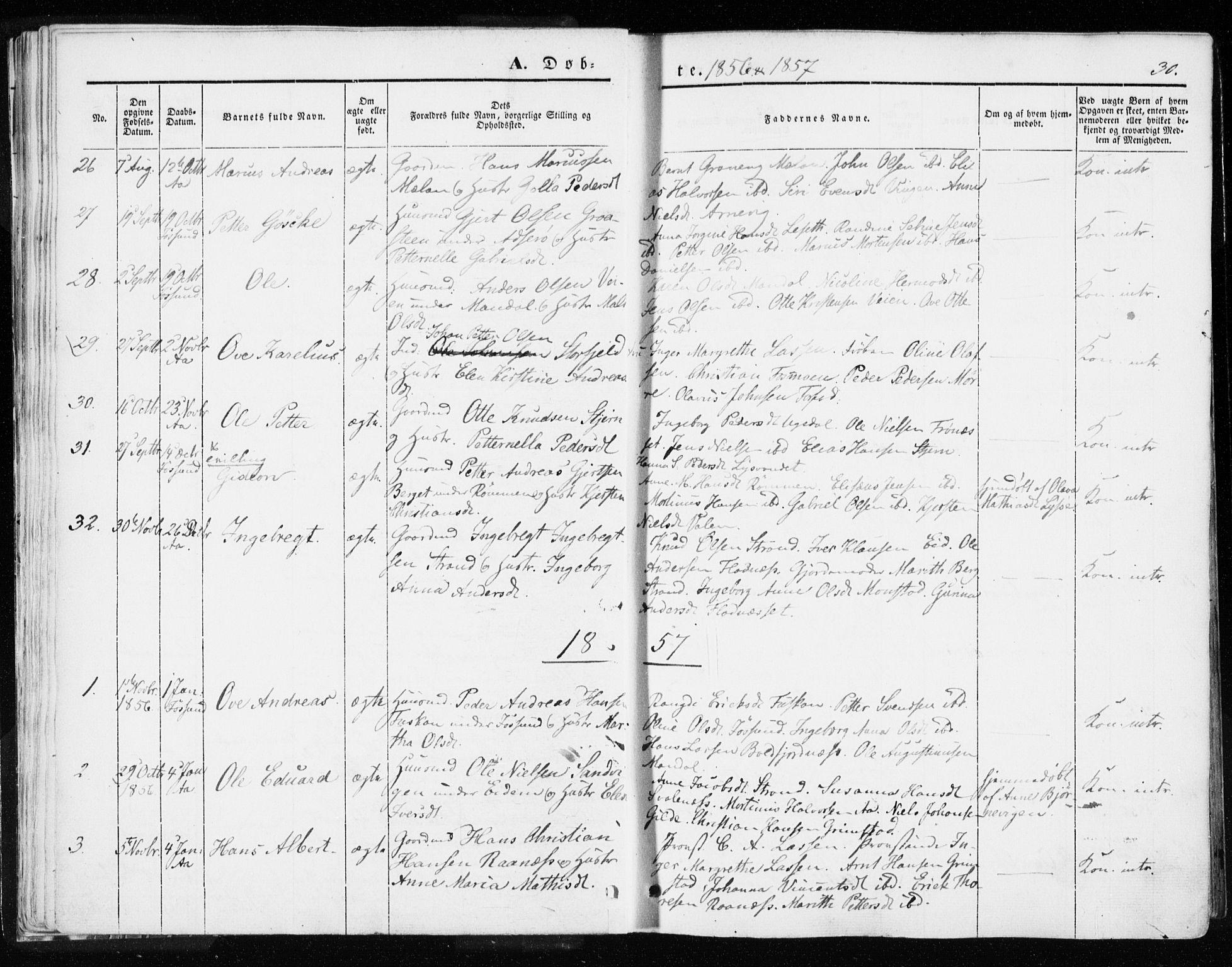 SAT, Ministerialprotokoller, klokkerbøker og fødselsregistre - Sør-Trøndelag, 655/L0677: Ministerialbok nr. 655A06, 1847-1860, s. 30